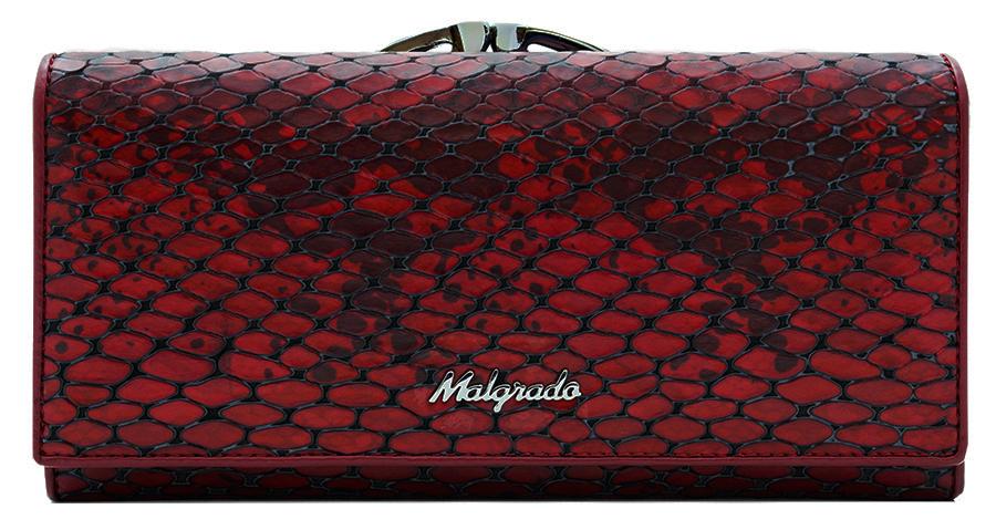 Кошелек женский Malgrado, цвет: красный. 72031-52501INT-06501Стильный кошелек Malgrado выполнен из натуральной кожи, застегивается клапаном на кнопку. Внутри содержит девять кармашков для кредитных карт, три отделения для купюр, один кармашек на застежке-молнии. На задней стороне кошелек имеет 2 отделения для мелочи, закрывающиеся металлическим рамочным замком типа ридикюль. Кошелек упакован в подарочную металлическую коробку с логотипом фирмы. Такой кошелек станет замечательным подарком человеку, ценящему качественные и практичные вещи.