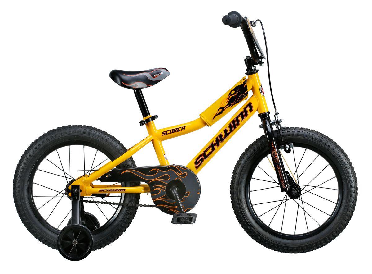 Велосипед детский Schwinn Scorch, колеса 16, 1 скорость, цвет: желтыйMW-1462-01-SR серебристыйКрутой огненный байк Schwinn Scorch, выполнен в желто-черном цвете – вот о чем мечтает Ваш малыш! Седло и руль регулируются по высоте, и велосипед может расти вместе с ребёнком.Мягкая накладка на верхней трубе защитит от травм во время катания. Два вида тормоза, ручной и ножной, позволяют Вашему ребёнку постепенно переходить на взрослые стандарты.Полноразмерная защита цепи предохраняет одежду от загрязнения. В комплекте идут дополнительные колёса для обучения езде на начальном этапе катания. Schwinn SmartStart - новая концепция в разработке детских велосипедов, учиться кататься стало проще и веселее!• Рама Schwinn Smart Start• Надёжные ободные и ножные тормоза• Регулировка высоты седла без инструментов• Регулировка руля по высоте и наклону• Полноразмерная защита цепи• Дополнительные колёса• Мягкая накладка на верхней трубе• Колёса 16• Велосипед для детей 4-6 лет• Для роста 100-115см