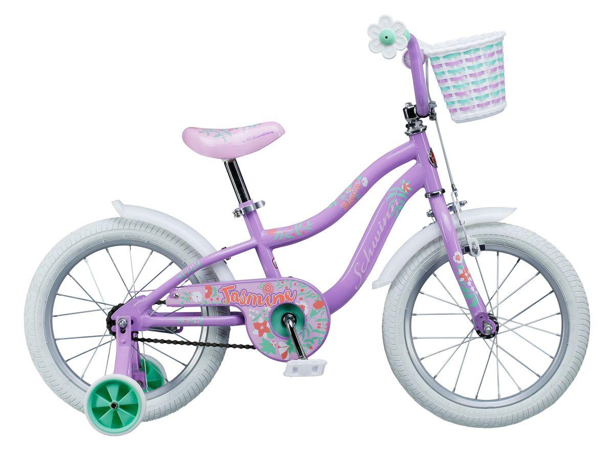 Велосипед детский Schwinn Jasmine, колеса 16, 1 скорость, цвет: фиолетовый336211Фиолетово-белое волшебное сочетание цветов Schwinn Jasmine понравится Вашей принцессе с первого взгляда! Этот велосипед - это отличный спутник зарождения любви к спорту и прогулкам на свежем воздухе. Седло и руль регулируются по высоте, и велосипед может расти вместе с Вашим ребёнком. Два вида тормоза, ручной и ножной, позволяют ребёнку постепенно переходить на взрослые стандарты. Цветочки-ограничители на концах руля – это не просто декоративный элемент, но и функциональная вещь, ведь ручки ребенка не соскочат при неловком движении. Schwinn SmartStart - новая концепция в разработке детских велосипедов, учиться кататься стало проще и веселее!• Рама Schwinn Smart Start• Надёжные ободные и ножные тормоза• Регулировка высоты седла без инструментов• Регулировка руля по высоте и наклону• Полноразмерная защита цепи• Дополнительные колёса• Ограничители на концах руля• Корзинка для кукол на руле• Колёса 16• Велосипед для детей 4-6 лет• Для роста 100-115см