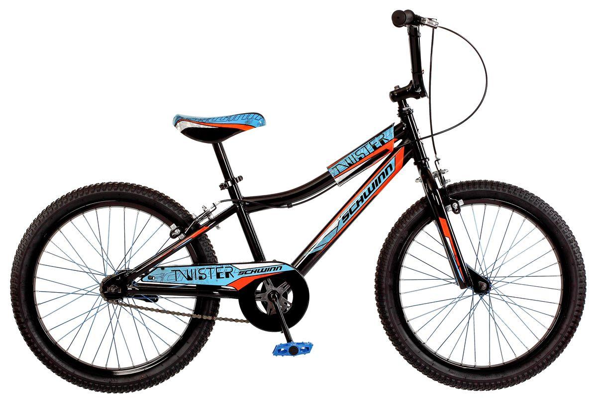 Велосипед детский Schwinn Twister, колеса 20, 1 скорость, цвет: черныйS2378EСпортивный стиль велосипеда Twister подчёркивает гоночная черно-голубая раскраска с яркими элементами. Прочная стальная рама и вилка – это основа надёжной конструкции велосипеда. Седло регулируется по высоте. Мягкая накладка на верхней трубе защищает от травм во время катания. Ободные тормоза надёжны и проверены временем, они не подводят в любую погоду. Полноразмерная защита цепи спасёт одежду от загрязнения. Schwinn SmartStart - новая концепция в разработке детских велосипедов, учиться кататься стало проще и веселее!• Рама Schwinn Smart Start• Надёжные ободные тормоза• Регулировка высоты седла без инструментов• Регулировка высоты руля и наклону• Полноразмерная защита цепи• Мягкая накладка на верхней трубе• Цветные спицы• Подножка в комплекте• Колёса 20• Велосипед для детей 6-9 лет• Для роста 115-130см