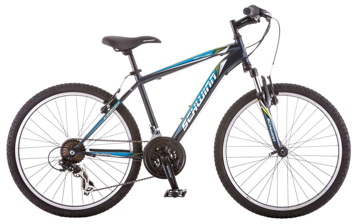 Велосипед горный Schwinn High Timber, для мальчика, цвет: синий, рама 14, колеса 24S2448BSchwinn High Timber – идеальный пример качества и продуманного подхода к созданию подросткового велосипеда для парней. Велосипед оснащен прочной стальной рамой размером 14, которая прослужит не один год. Седло и руль регулируются по высоте и можно слегка увеличивать ее по мере роста ребенка. Амортизационная вилка оснащена подпружиненными пыльниками, которые не пропускают пыль и влагу внутрь, способствуя большему сроку службы вилки. Простые в настройке и обслуживании ободные тормоза отлично работают в любую погоду. Так же этот велосипед оснащён надёжными переключателями Shimano и защитой звезд.Особенности:Прочная стальная MTB рама размером 14.Амортизационная вилка с подпружиненными пыльниками.Простые в настройке и обслуживании ободные тормоза для любой погоды.Переключатели передач Shimano Tourney.21 скорость.Руль и седло регулируются по высоте и наклону.Защита цепи.Алюминиевые обода.Быстросъемные колеса на эксцентриковых осях.Подножка в комплекте.Колеса 24.Для подростков 9-12 лет.Для роста 125-155 см.