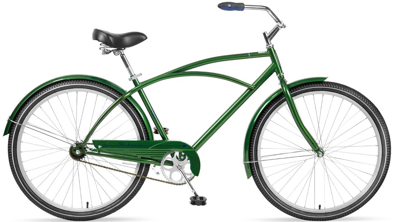 Велосипед городской Schwinn Gammon, рама 18, колеса 27,5, 1 скорость, цвет: зеленыйGESS-132Классический велосипед Schwinn Gammon создан для наслаждения неспешными прогулками по городу и паркам. Прочная стальная рама, дизайн которой пришёл к нам из 80-х, и глубокий зеленый цвет элегантно завершают облик велосипеда. Комфортное седло и широкий легкоуправляемый руль доставляет массу положительных эмоций при использовании велосипеда. Прогрессивный для этого класса велосипедов размер колёс, 27,5 дюймов, дарит Вам непревзойдённый накат и управляемость на дороге. Полноразмерные крылья защищают от брызг воды и песка из-под колёс. Полноценная защита цепи предохраняет от попадания низа одежды в цепь и звёзды.• Прочная стальная рама размером 18• Широкий и удобный руль • Полноразмерные крылья • Полноразмерная защита цепи• Седло и руль регулируются по высоте и наклону• Подножка в комплекте• Колёса 27,5