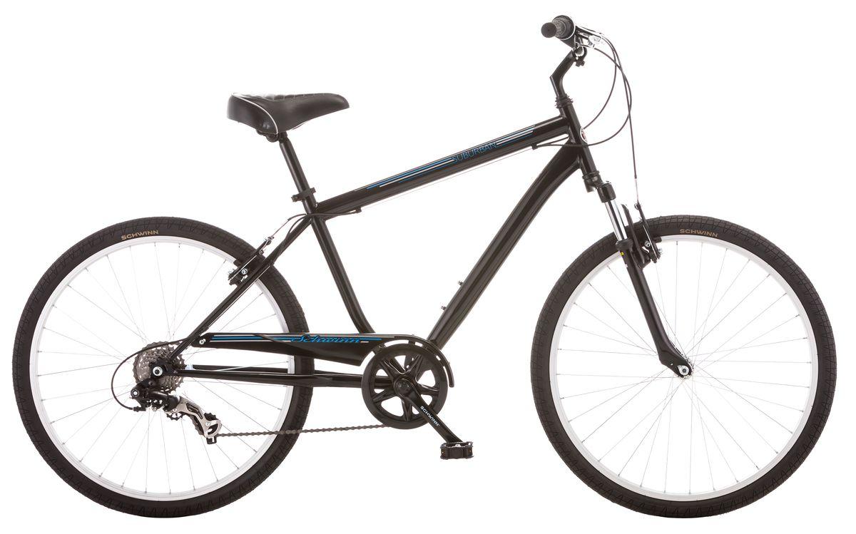 Велосипед городской Schwinn Suburban, мужской, рама 18, колеса 26, 7 скоростей, цвет: черныйS5482BСтильный мужской велосипед Suburban с рамой Schwinn Comfort , выполненный в классическом черном цвете, идеально подходит для катания по среднепересечённой местности – асфальту и утоптанным тропинкам. Этот комфортный велосипед оптимизирован под расслабленную посадку, которая достигается за счёт педалей, вынесенных вперёд относительно седла. Регулируемый по высоте руль помогает Вам сидеть максимально ровно, расслабив руки. Широкое, мягкое седло и амортизационная вилка, уменьшают любые, даже самые маленькие вибрации от дороги. Цепь велосипеда дополнительно защищена кожухом и не пачкает одежду.• Прочная стальная рама размером 18• Амортизационная вилка• Надёжные ободные тормоза• Переключатели передач Shimano Tourney• 7 скоростей• Регулировка руля и седла по высоте и наклону• Полноразмерная защита цепи• Круговая защита передней звезды, предотвращает соскакивание цепи• Подножка в комплекте• Колёса 26