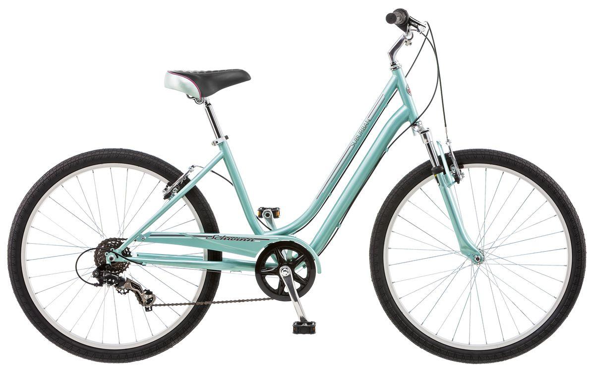 Велосипед городской Schwinn Suburban, женский, рама 16, колеса 26, 7 скоростей, цвет: голубойS5483BСтильный женский велосипед Suburban Woman, выполненный в нежно-мятном цвете, идеально подходит для катания по городу и паркам. Он оснащен заниженной рамой Schwinn Comfort, которая позволяет легко сесть на велосипед и спрыгнуть при остановке. Широкое и комфортное седло в сочетании с амортизационной вилкой дарят удобство при езде. Руль и седло регулируются по высоте и наклону для максимально комфортной посадки. Цепь велосипеда дополнительно защищена кожухом и не пачкает одежду. • Прочная заниженная рама размером 16• Амортизационная вилка• Надёжные ободные тормоза с легкой настройкой• Переключатели передач Shimano Tourney• 7 скоростей• Регулировка руля и седла по высоте и наклону• Широкое и комфортное седло• Полноразмерная защита цепи• Круговая защита передней звезды, предотвращает соскакивание цепи• Подножка в комплекте• Колёса 26