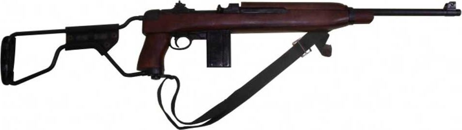 Карабин Второй Мировой войны, модель десантных войск, складывающийся приклад, с ремнем, США, 1941 годRG-D31SКомпания Denix из Испании часто обращается к огнестрельному оружию, выпускавшемуся во время Второй мировой войны. Большое внимание уделяется вооружению американской армии, так как ей использовались одни из самых наиболее массово производимых винтовок, карабинов, автоматов и т. д.В их числе – модификация M1A1 знаменитого карабина M1, разработанного компанией Winchester. Эту вариацию использовали парашютно-десантные части. От базовой версии ее отличал металлический приклад, который складывался. Объем выпуска M1A1 составил порядка 150 тысяч экземпляров. Копия полностью копирует оригинал по размеру.