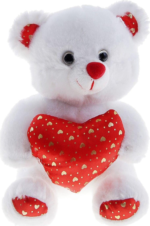 Sima-land Мягкая игрушка Мишка белый с сердечками 330514
