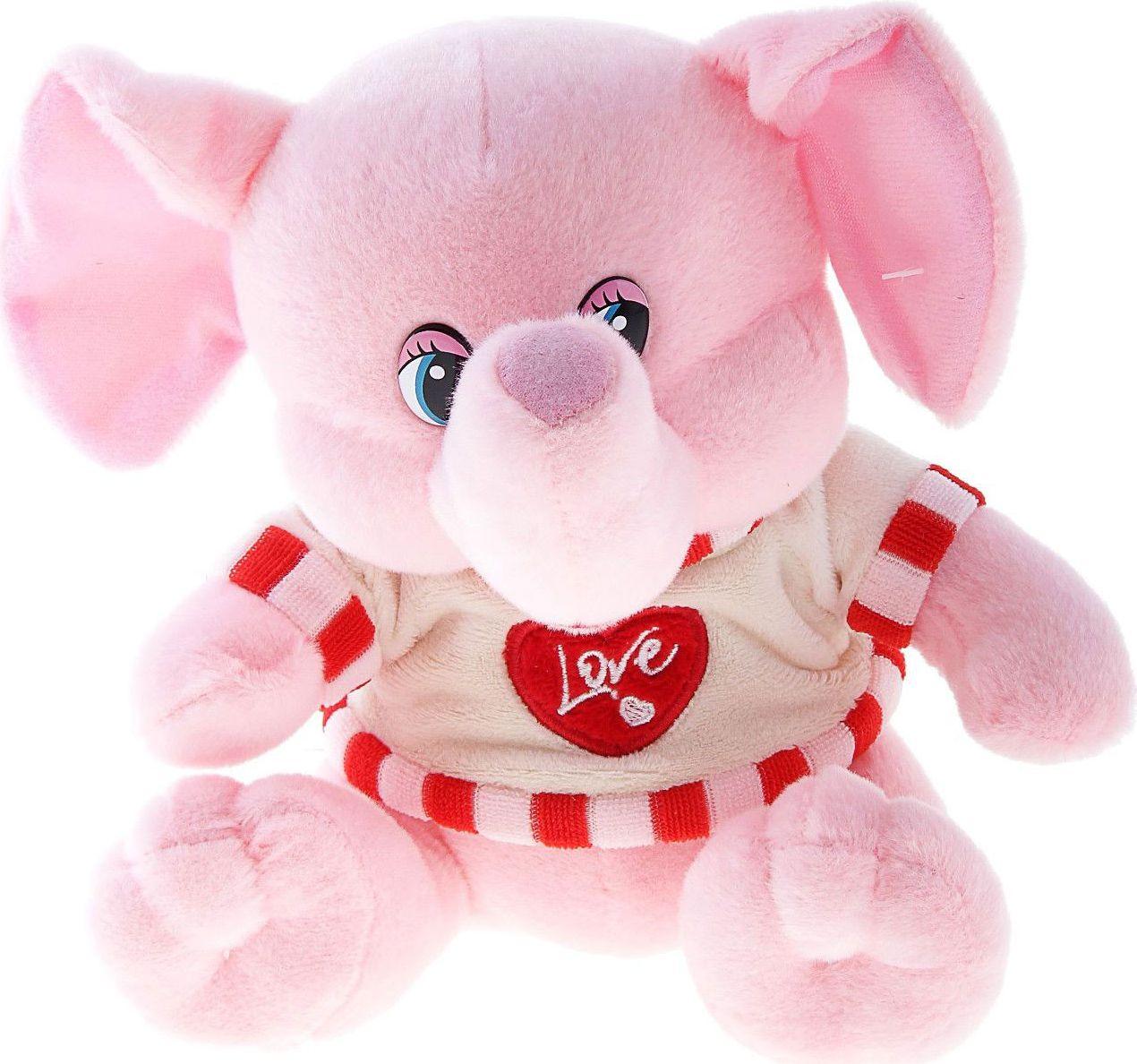 Sima-land Мягкая игрушка Слоник в кофте с сердечком 330530 sima land мягкая игрушка глазастый петушок в шарфе и с бантиком