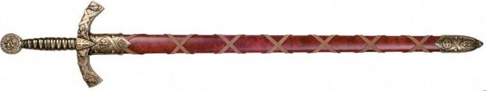 Меч в красных ножнах. Оружейная реплика. ЛатуньD7/4163LМеч — вид холодного оружия с прямым клинком, предназначенный для рубящего удара или рубящего и колющего ударов, в самом широком смысле — собирательное название всего длинного клинкового оружия с прямым клинком. В современном отечественном историческом оружиеведении принято более узкое определение меча: наступательное оружие с обоюдоострым прямым клинком длиной более 60 сантиметров, предназначенное прежде всего для рубящих ударов. Оружие с односторонней заточкой клинка относится к палашам.Меч от античности до позднего средневековья был настолько известным видом оружия, что, наряду со щитом, стал символом воина и воинского дела, вошёл в геральдику, афоризмы и поговорки, даже в XXI веке оставаясь узнаваемым символом и героем фэнтезийной и даже научно-фантастической литературы. При этом на практике в течение большей части своей истории меч был дорогим и сравнительно малораспространённым оружием, играя в комплексе вооружения, как правило, вспомогательную роль. Основным боевым холодным оружием вплоть до широкого распространения огнестрельного было копьё в различных его формах (впрочем, то же ружьё со штыком представляет собой вариант того же копья). На втором месте во многих культурах находились боевые топоры, клинки которых были намного проще в изготовлении и менее металлоёмким, чем полноценный меч. Массовое производство качественных длинных клинков и вооружение ими рядового состава массовых армий стало возможно лишь к исходу средневековья, уже после потери классическим мечом актуальности в качестве боевого оружия, хотя в роли атрибута статуса офицера клинковое оружие — обычно шпаги или сабли — использовалось в большинстве армий ещё до самого конца XIX века. В европейских странах мечи активно использовались до конца XVI века, а в XVII веке были окончательно заменены на шпаги, сабли и палаши, которые по сути представляли собой его особые, высокоспециализированные формы. На Востоке, включая Русь, сабля окончательно выт