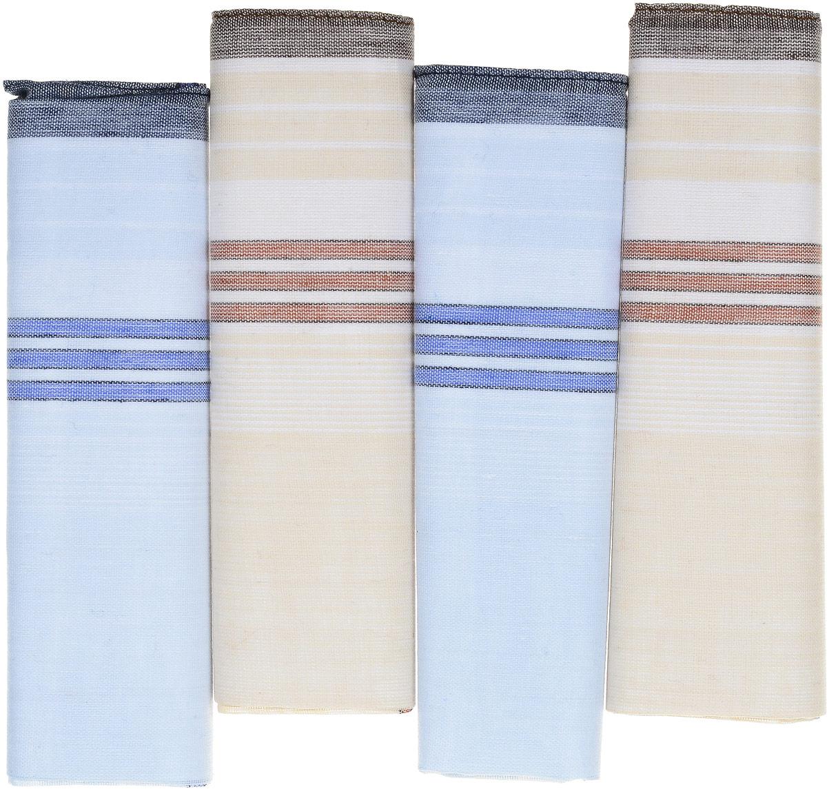 Платок носовой мужской Zlata Korunka, цвет: голубой, бежевый. 71419-6. Размер 34 х 34 см, 4 штСерьги с подвескамиНосовой платок Zlata Korunka изготовлен из высококачественного натурального хлопка, благодаря чему приятен в использовании, хорошо стирается, не садится и отлично впитывает влагу. Практичный носовой платок будет незаменим в повседневной жизни любого современного человека. Такой платок послужит стильным аксессуаром и подчеркнет ваше превосходное чувство вкуса. В комплекте 4 платка.
