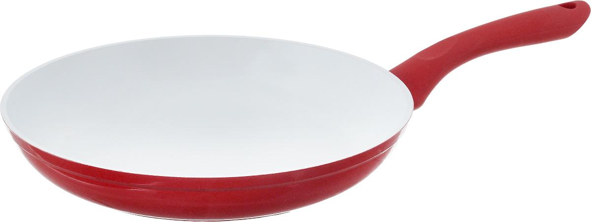 Сковорода NaturePan Modern, с керамическим покрытием. Диаметр 26 см68/5/4Сковорода NaturePan Modern выполнена из высококачественного алюминия с антипригарным керамическим покрытием. Покрытие абсолютно безопасно для здоровья, не содержит вредных веществ. Керамическое покрытие позволит вам готовить вкусную и здоровую еду с минимальным добавлением масла и жира.Усиленное кованное дно обеспечивает равномерное распределение тепла по всей поверхности сковороды, что улучшает качество приготовленной пищи.Сковорода оснащена удобной пластиковой ручкой с противоскользящим покрытием, которая не нагревается.Подходит для всех типов плит, кроме индукционных. Разрешена только ручная мойка.Высота стенки: 4,5 см. Длина ручки: 18 см.