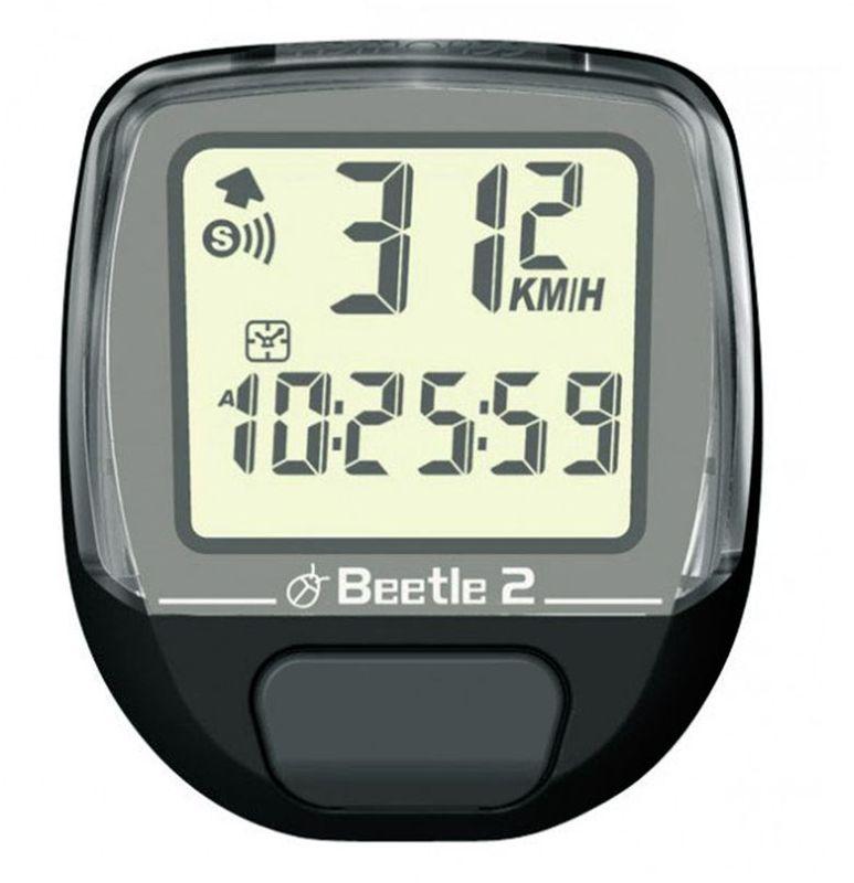 Велокомпьютер Beetle-2, 8 функций, цвет: черный4712593200564Проводной велокомпьютер Beetle-2 с восьмью функциями в стильном корпусе предназначен для использования при занятиях велоспортом, велотуризмом и просто катании на велосипеде. Имеет отличную водо и пылезащиту.Велокомпьютер Beetle-2 оснащен следующими функциями: Текущая скорость.Средняя скорость.Максимальная скорость.Текущее время.Общее время.Общий пробег (одометр). Текущее расстояние.Часы.Велокомпьютер определяет скорость движения с точностью до десятых долей, дистанцию - с точностью до 10 метров. На дисплее функции поочередно сменяют друг друга. Все операции и настройки выполняются одной кнопкой. Велокомпьютер работает от литиевой батарейки типа CR2032 (входит в комплект). Характеристики:Материал: пластик, металл. Размер велокомпьютера: 4 см x 5 см x 2 см. Размер упаковки: 8,5 см x 7,5 см x 4 см. Производитель: Тайвань. Изготовитель: Китай.