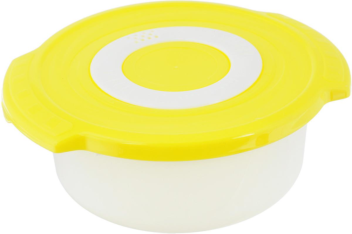 Кастрюля для СВЧ Plastic Centre Galaxy, цвет: желтый, 0,9 лРАД00000380_зеленый, желтыйКруглая кастрюля для СВЧ Plastic Centre Galaxy изготовлена из высококачественного полипропилена, устойчивого к высоким температурам. Яркая цветная крышка плотно закрывается, дольше сохраняя продукты свежими и вкусными.Кастрюля снабжена паровыпускным клапаном, который можно регулировать. Кастрюля прекрасно подойдет для разогрева и приготовления пищи в СВЧ.Объем кастрюли: 0,9 л. Размеры кастрюли: 18,5 х 16,5 х 7,5 см.