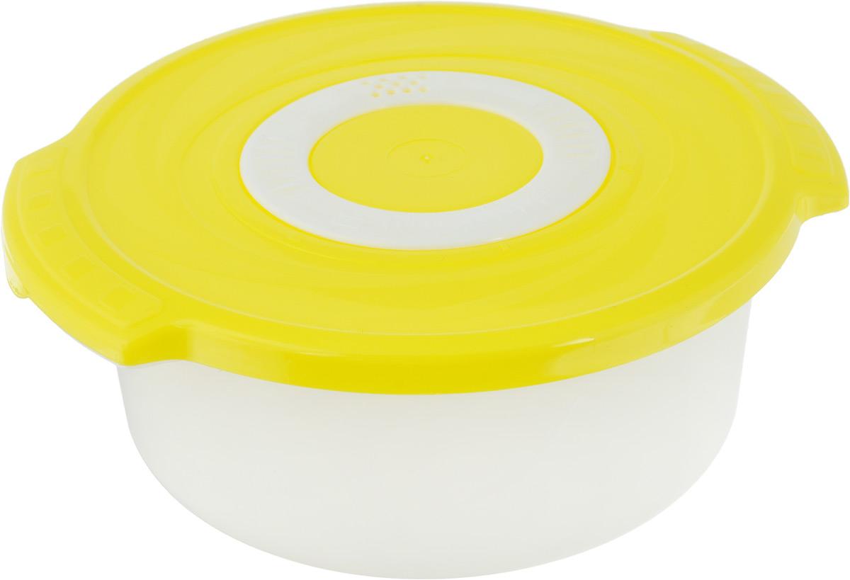 Кастрюля для СВЧ Plastic Centre Galaxy, цвет: желтый, 1,4 л27247_белыйКруглая кастрюля для СВЧ Plastic Centre Galaxy изготовлена из высококачественного полипропилена, устойчивого к высоким температурам. Яркая цветная крышка плотно закрывается, дольше сохраняя продукты свежими и вкусными.Кастрюля снабжена паровыпускным клапаном, который можно регулировать. Кастрюля прекрасно подойдет для разогрева и приготовления пищи в СВЧ.Объем кастрюли: 1,4 л. Размеры кастрюли: 210 х 185 х 81 см.