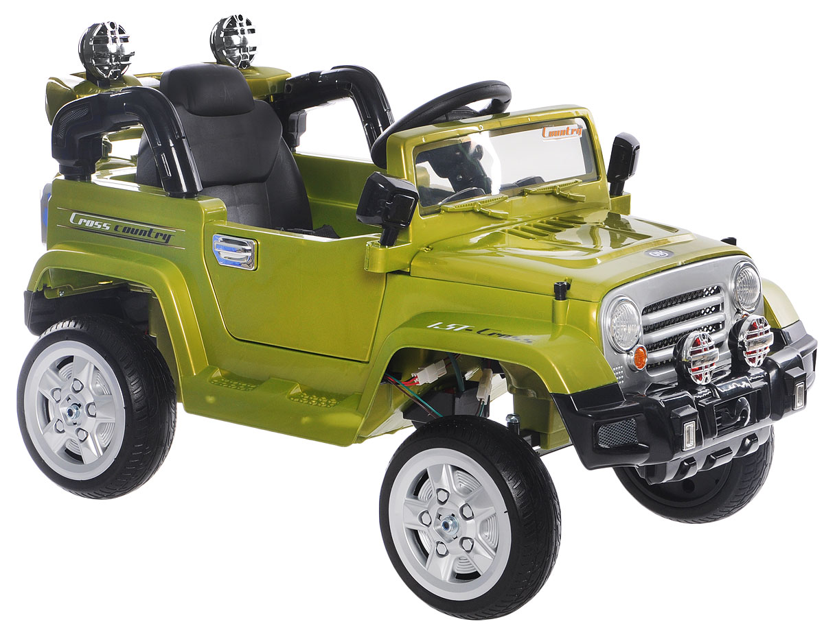 1TOY Электромобиль Джип цвет зеленый - Электромобили