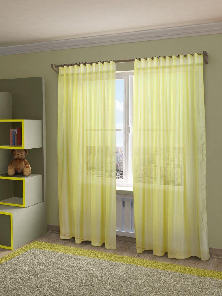 Тюль Sanpa Home Collection Пегги, на ленте, цвет: желтый, высота 280 см106-026Тюль Пегги нежного цвета изготовлена из микровуали. Микровуаль соединила в себе положительные качества вуали - мягкость, изысканность - и органзы - светопроницаемость, упругость. При этом микровуаль является новым, заслуживающим отдельного внимания видом ткани. Обладая удивительной тонкостью, прозрачностью, полуорганза невероятно пластична и прочна, к тому же, она не поддаётся деформации, усадке и устойчива к ультрафиолетовым лучам.Воздушная ткань привлечет к себе внимание и идеально оформит интерьер любого помещения. Тюль сделает ваш интерьер более нежным, воздушным и невесомым. Можно драпировать окно только тюлью или только портьерами, но вместе они создают идеальную композицию. Мы рекомендуем под однотонные портьеры нейтральных тонов подбирать сложносочиненную тюль, с изысканной вышивкой и орнаментом, а под портьеры с рисунком или ярких тонов - выбирать тюль с минималистичным рисунком или вообще без него.Крепление к карнизу осуществляется при помощи вшитой шторной ленты.
