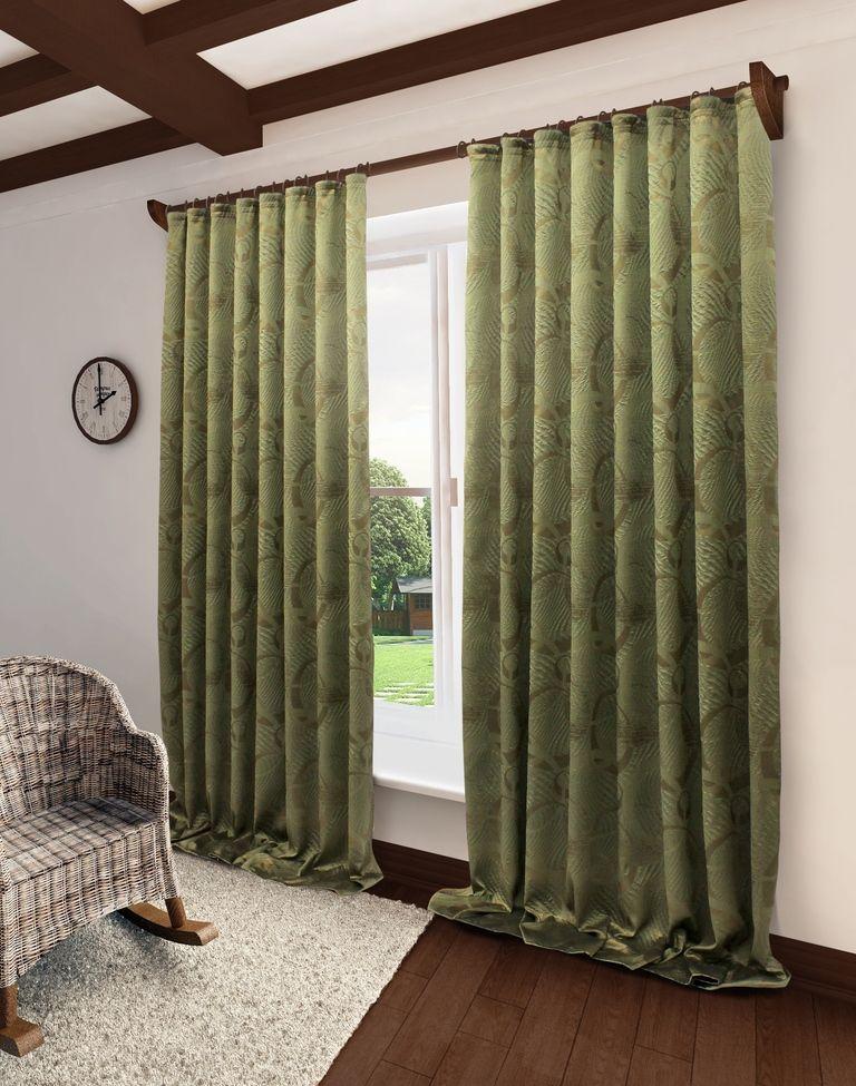 Штора Sanpa Home Collection Селина, на ленте, цвет: зеленый, высота 280 см тюль sanpa home collection готовый тюль