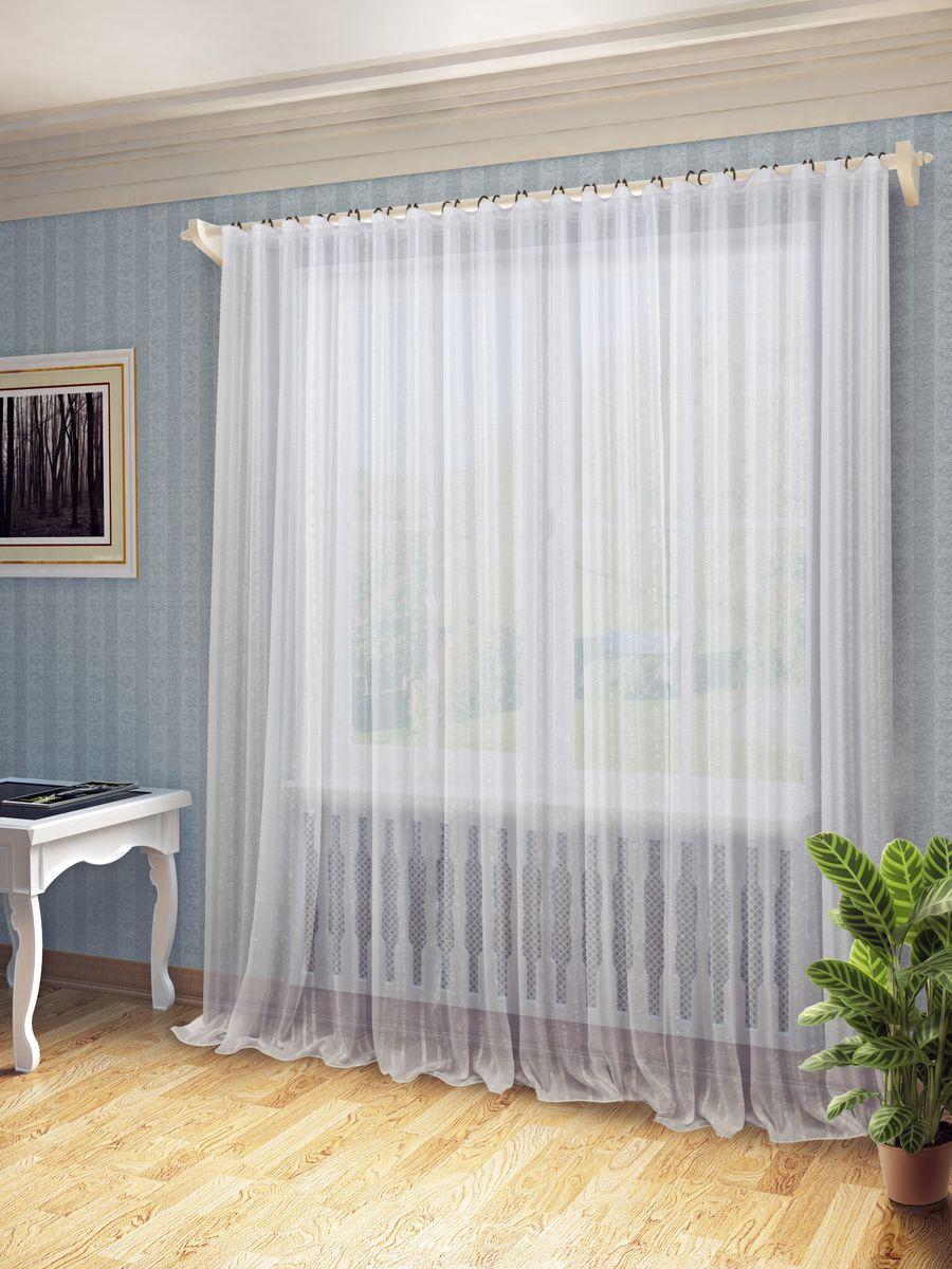 Тюль Sanpa Home Collection Сара, на ленте, цвет: белый, высота 260 смKGB GX-3Тюль Сара нежного цвета изготовлена из ткани вуаль. Воздушная ткань привлечет к себе внимание и идеально оформит интерьер любого помещения. Тюль сделает ваш интерьер более нежным, воздушным и невесомым. Можно драпировать окно только тюлью или только портьерами, но вместе они создают идеальную композицию. Мы рекомендуем под однотонные портьеры нейтральных тонов подбирать сложносочиненную тюль, с изысканной вышивкой и орнаментом, а под портьеры с рисунком или ярких тонов - выбирать тюль с минималистичным рисунком или вообще без него.Крепление к карнизу осуществляется при помощи вшитой шторной ленты.