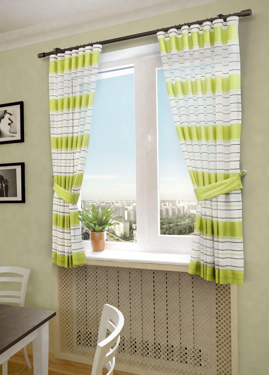Комплект штор Sanpa Home Collection Зебра, на ленте, цвет: салатовый, высота 180 см308-8956/2Комплект штор Sanpa Home Collection Зебра, выполненный из вуали, великолепно украсит любое окно. Комплект состоит из двух штор и двух подхватов. Оригинальный рисунок и приятная цветовая гамма привлекут к себе внимание и органично впишутся в интерьер помещения. Этот комплект будет долгое время радовать вас и вашу семью.