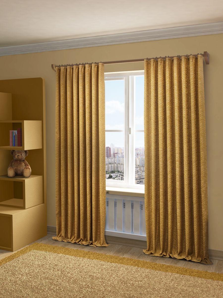 Штора Sanpa Home Collection Гейл, на ленте, цвет: золотистый, высота 270 см956251325Штора Гейл с оригинальным узоромизготовлена из ткани жаккард.Жаккард - одна из дорогостоящих тканей, так как её производство трудозатратно. Своеобразный рельефный рисунок, который получается в результате сложного переплетения на плотной ткани, напоминает гобелен.Крепление к карнизу осуществляется при помощи вшитой шторной ленты.