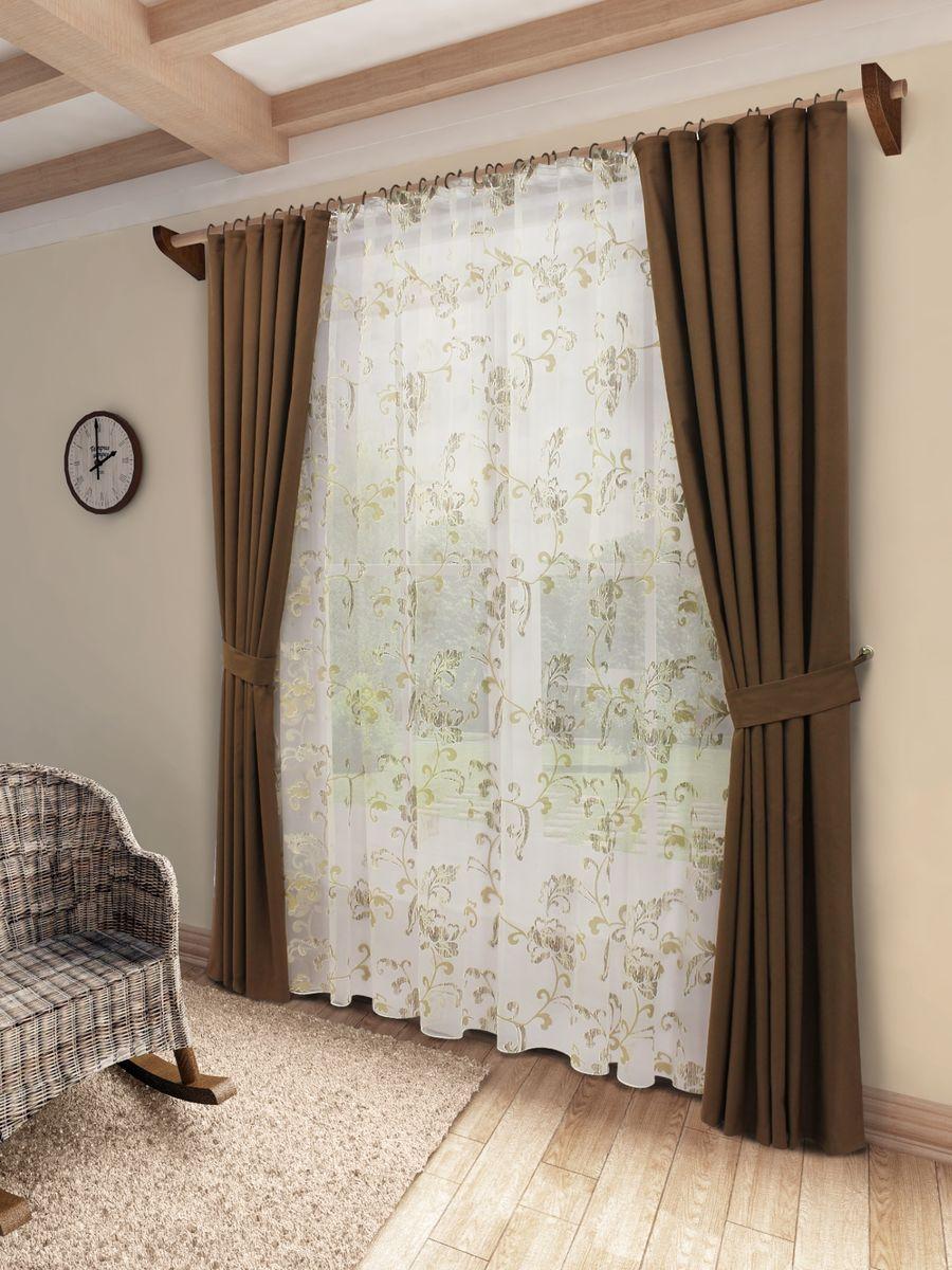 Комплект штор Sanpa Home Collection Флория, на ленте, цвет: коричневый, высота 260 см956251325Комплект штор Флория, выполненный из хлопка, великолепно украсит любое окно. Комплект состоит из тюли, двух штор. Оригинальный рисунок и приятная цветовая гамма привлекут к себе внимание и органично впишутся в интерьер помещения. Этот комплект будет долгое время радовать вас и вашу семью!В комплект входит: Тюль: 1 шт. Размер (Ш х В): 400 см х 260 см. Штора: 2 шт. Размер (Ш х В): 150 см х 260 см.