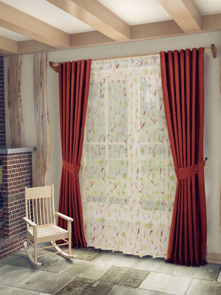 Комплект штор Sanpa Home Collection Лили, на ленте, цвет: терракотовый, высота 260 смSVC-300Комплект штор Лили, великолепно украсит любое окно. Комплект состоит из тюля, двух штор и двух подхватов. Оригинальный рисунок и приятная цветовая гамма привлекут к себе внимание и органично впишутся в интерьер помещения. Этот комплект будет долгое время радовать вас и вашу семью!В комплект входит: Тюль: 1 шт. Размер (Ш х В): 400 см х 260 см. Штора: 2 шт. Размер (Ш х В): 170 см х 260 см.Подхват: 2 шт.
