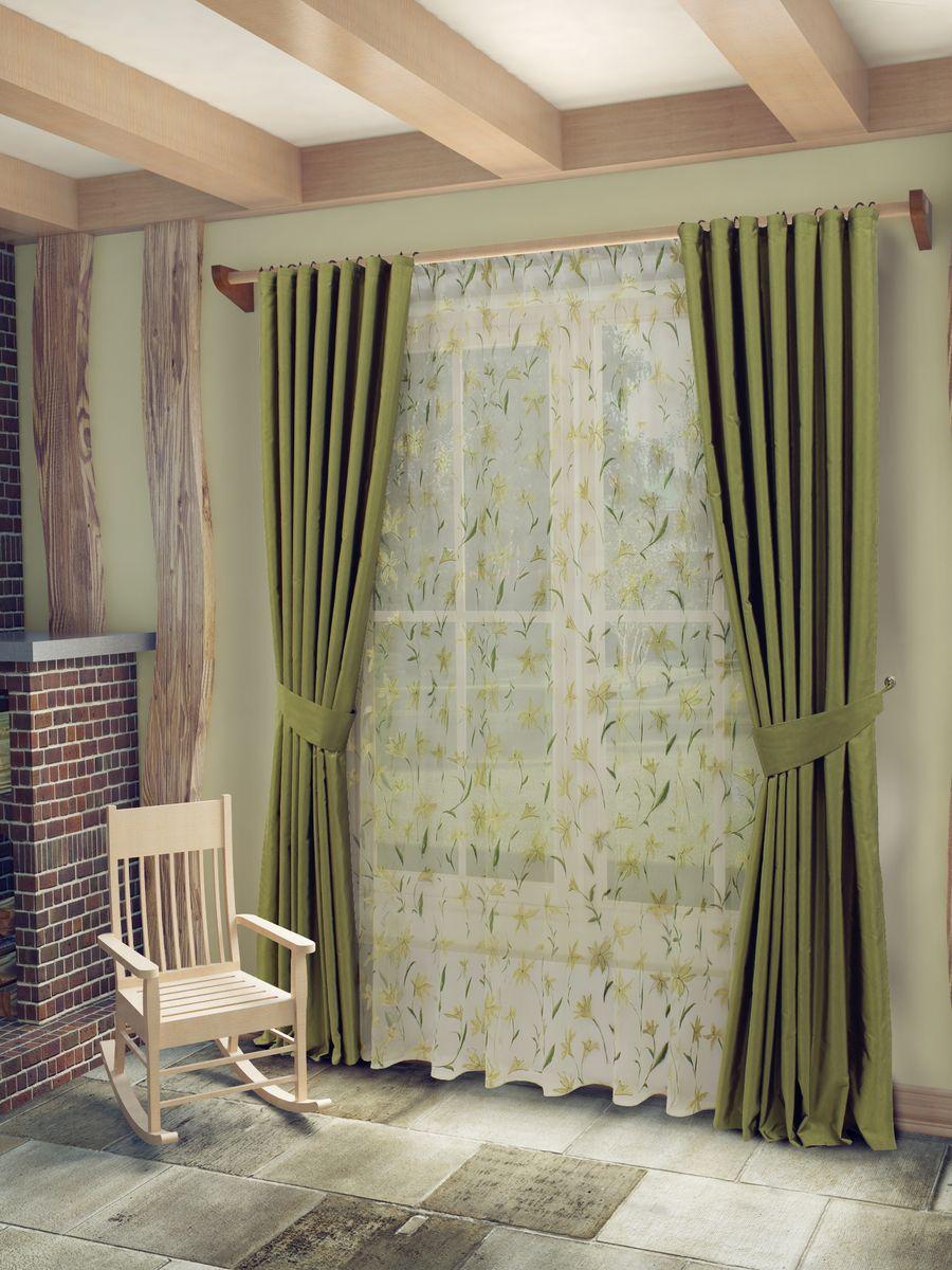 Комплект штор Sanpa Home Collection Лили, на ленте, цвет: зеленый, высота 260 смSVC-300Комплект штор Лили, великолепно украсит любое окно. Комплект состоит из тюля, двух штор и двух подхватов. Оригинальный рисунок и приятная цветовая гамма привлекут к себе внимание и органично впишутся в интерьер помещения. Этот комплект будет долгое время радовать вас и вашу семью!В комплект входит: Тюль: 1 шт. Размер (Ш х В): 400 см х 260 см. Штора: 2 шт. Размер (Ш х В): 170 см х 260 см.Подхват: 2 шт.