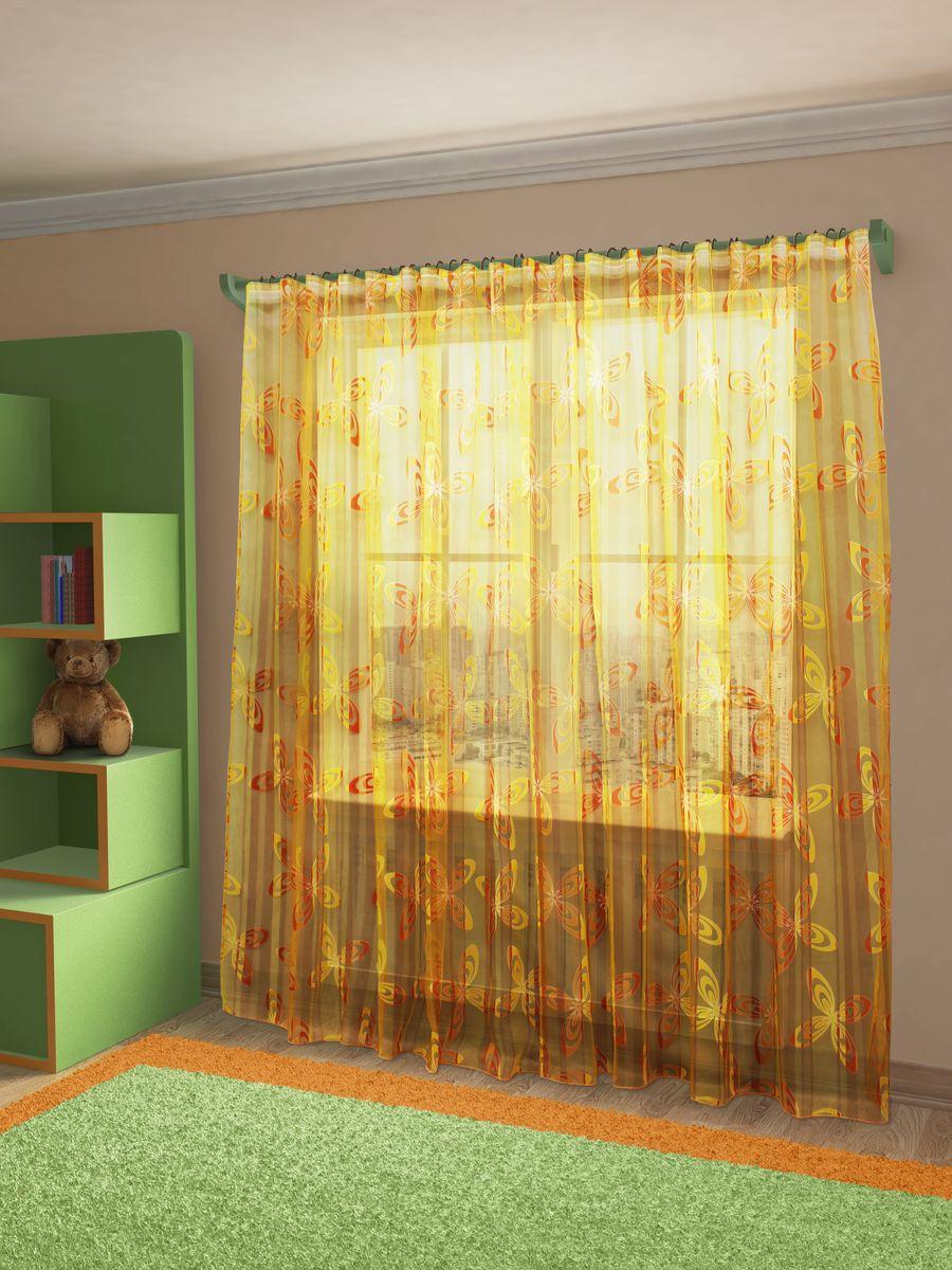 Тюль Sanpa Home Collection Кимми, на ленте, цвет: оранжевый, высота 260 смкн12-60авцТюль Sanpa Home Collection Кимми из легкой ткани органзы-деворе с принтованным рисунком. Тип крепления - шторная лента.Размер: ширина 300 см, высота 260 см. В упаковке 1 тюль.