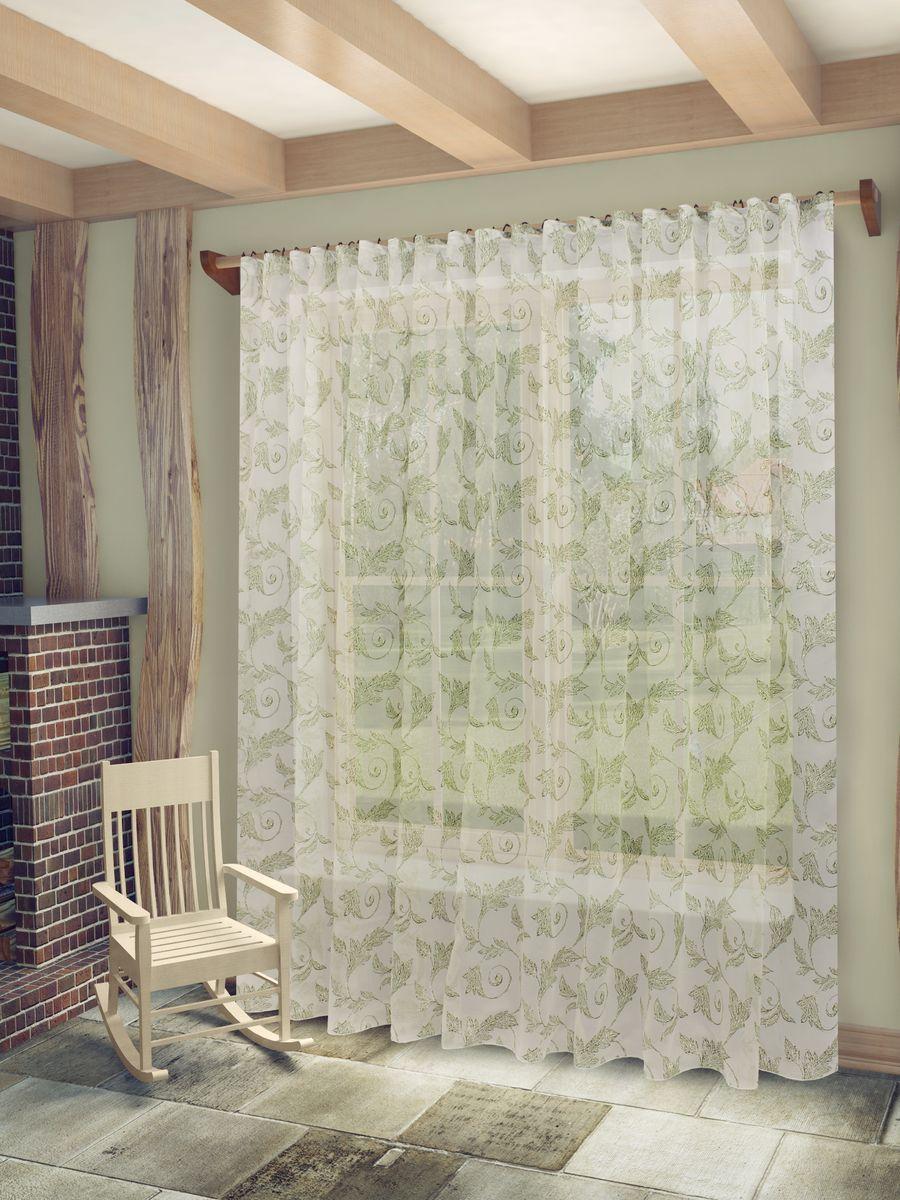 Тюль Sanpa Home Collection Изабелла, на ленте, цвет: белый, зеленый, высота 260 см10503Тюль Изабелла нежного цвета изготовлена из высококачественных материалов в технике деворе. Воздушная ткань привлечет к себе внимание и идеально оформит интерьер любого помещения. Деворе - это сложнейшая техника химического травления, при котором ткань приобретает великолепный, поистине волшебный вид. Изысканный атласный или бархатный рисунок буквально парит на матовом или прозрачном фоне, и материал становится лёгким, живым и объёмным.Крепление к карнизу осуществляется при помощи вшитой шторной ленты.