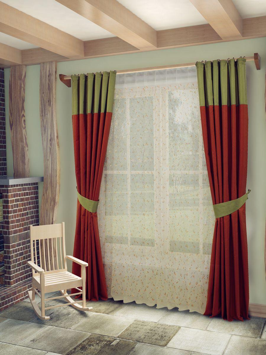 Комплект штор Sanpa Home Collection Берна, на ленте, цвет: зеленый, терракотовый, высота 260 смSVC-300Комплект штор Берна, выполненный из полиэстера, великолепно украсит любое окно. Комплект состоит из тюля, двух штор и двух подхватов. Оригинальный рисунок и приятная цветовая гамма привлекут к себе внимание и органично впишутся в интерьер помещения. Этот комплект будет долгое время радовать вас и вашу семью!В комплект входит: Тюль: 1 шт. Размер (Ш х В): 400 см х 260 см. Штора: 2 шт. Размер (Ш х В): 180 см х 260 см.Подхват: 2 шт.