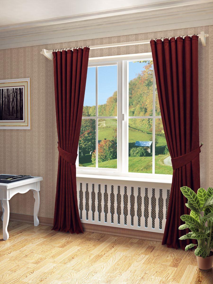 Комплект штор Sanpa Home Collection Элси, на ленте, цвет: бордовый, высота 260 смС 5394 - W1687 V4Комплект штор Элси, выполненный из жаккарда, великолепно украсит любое окно. Комплект состоит из двух штор и двух подхватов. Оригинальный рисунок и приятная цветовая гамма привлекут к себе внимание и органично впишутся в интерьер помещения. Этот комплект будет долгое время радовать вас и вашу семью!В комплект входит: Штора: 2 шт. Размер (Ш х В): 170 см х 260 см.Подхват: 2 шт.