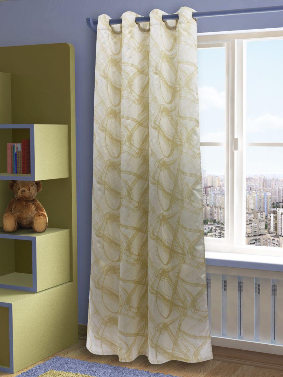 Штора Sanpa Home Collection Талита, на люверсах, цвет: золотистый, бежевый, высота 260 см1004900000360Штора Талита с оригинальным узором изготовлена из ткани жаккард.Жаккард - одна из дорогостоящих тканей, так как её производство трудозатратно. Своеобразный рельефный рисунок, который получается в результате сложного переплетения на плотной ткани, напоминает гобелен.Изделие оснащено металлическими люверсами для подвешивания на карниз-трубу, которые гармонично смотрятся и легко скользят по карнизу. Штора на люверсах идеально подойдет для гостиной или спальни и великолепно украсит любое окно.