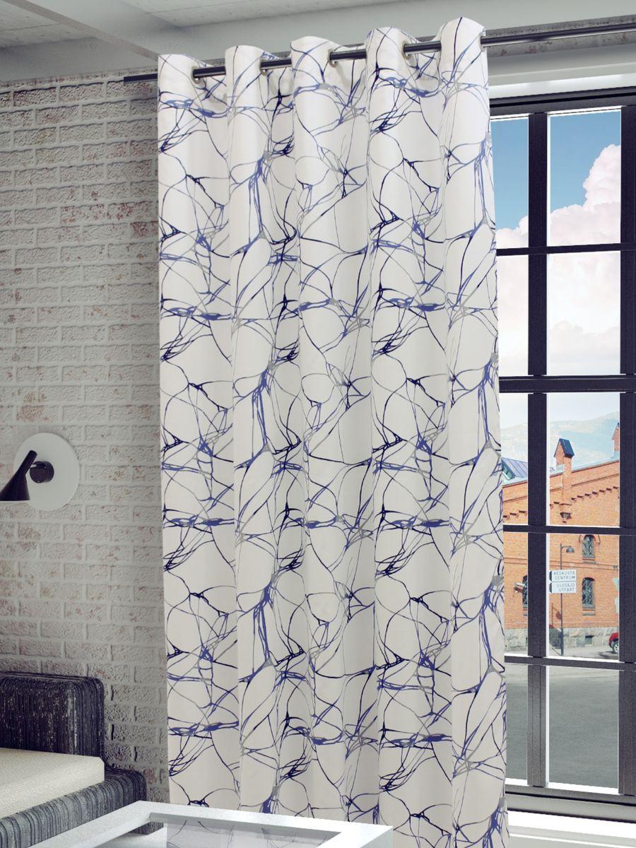 Штора Sanpa Home Collection Видана, на люверсах, цвет: белый, голубой, высота 260 см1004900000360Штора Видана с оригинальным узором изготовлена из хлопка.Изделие оснащено металлическими люверсами для подвешивания на карниз-трубу, которые гармонично смотрятся и легко скользят по карнизу. Штора на люверсах идеально подойдет для гостиной или спальни и великолепно украсит любое окно.