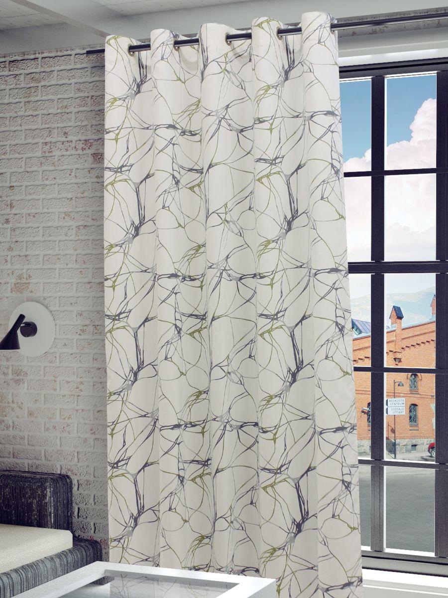Штора Sanpa Home Collection Видана, на люверсах, цвет: белый, серый, зеленый, высота 260 см20736Штора Видана с оригинальным узором изготовлена из хлопка.Изделие оснащено металлическими люверсами для подвешивания на карниз-трубу, которые гармонично смотрятся и легко скользят по карнизу. Штора на люверсах идеально подойдет для гостиной или спальни и великолепно украсит любое окно.
