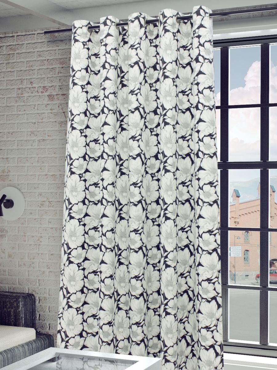 Штора Sanpa Home Collection  Янита, на люверсах, цвет: серый, высота 260 смS03301004Штора Янита с роскошным рисунком изготовлена из хлопка.Изделие оснащено металлическими люверсами для подвешивания на карниз-трубу, которые гармонично смотрятся и легко скользят по карнизу. Штора на люверсах идеально подойдет для гостиной или спальни и великолепно украсит любое окно.