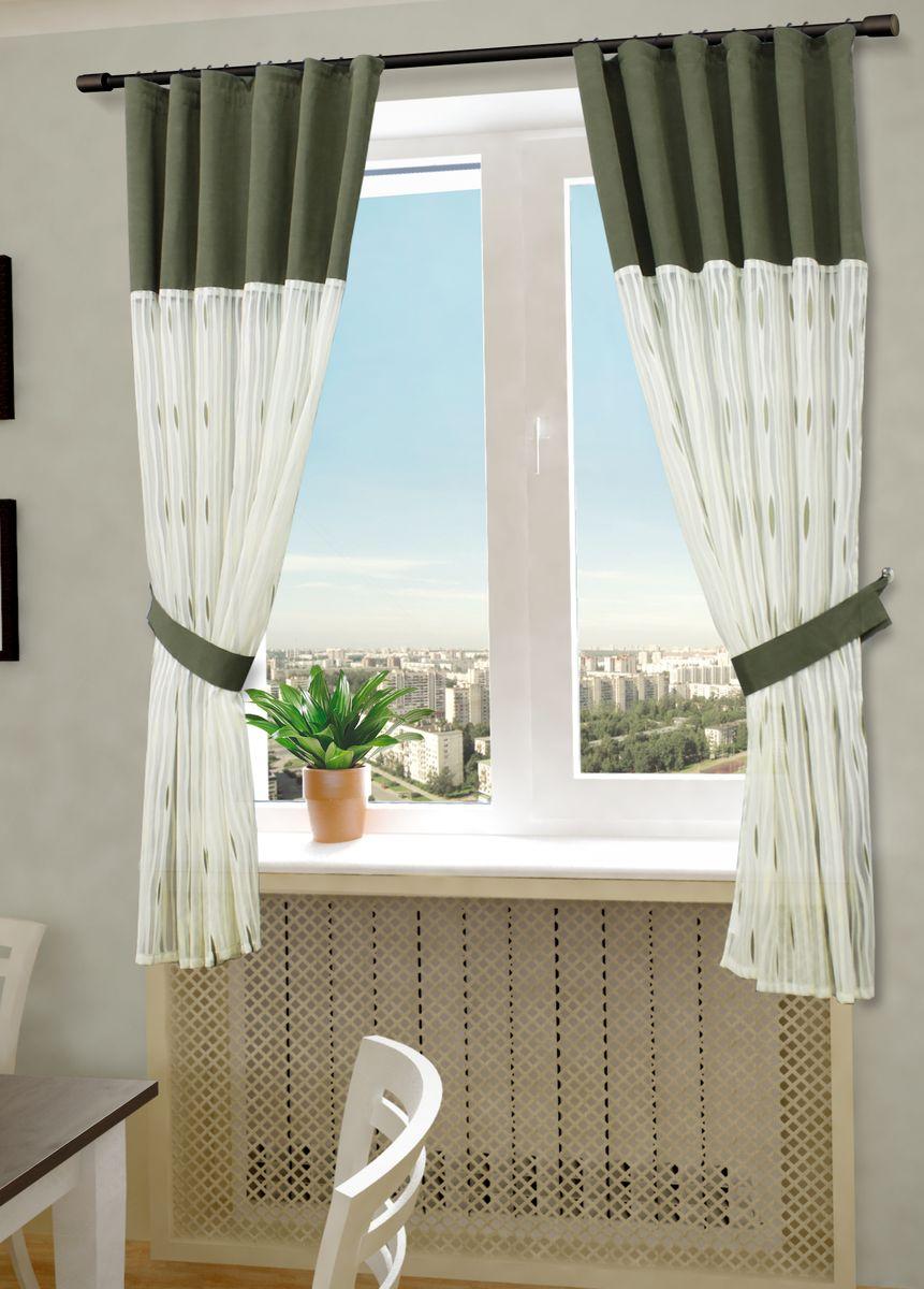 Комплект штор Sanpa Home Collection Делис, на ленте, цвет: белый, зеленый, высота 180 смKGB GX-3Комплект штор Делис, выполненный из жаккарда, великолепно украсит любое окно. Комплект состоит из двух штор и двух подхватов. Оригинальный рисунок и приятная цветовая гамма привлекут к себе внимание и органично впишутся в интерьер помещения. Этот комплект будет долгое время радовать вас и вашу семью!В комплект входит: Штора: 2 шт. Размер (Ш х В): 145 см х 180 см.Подхват: 2 шт.