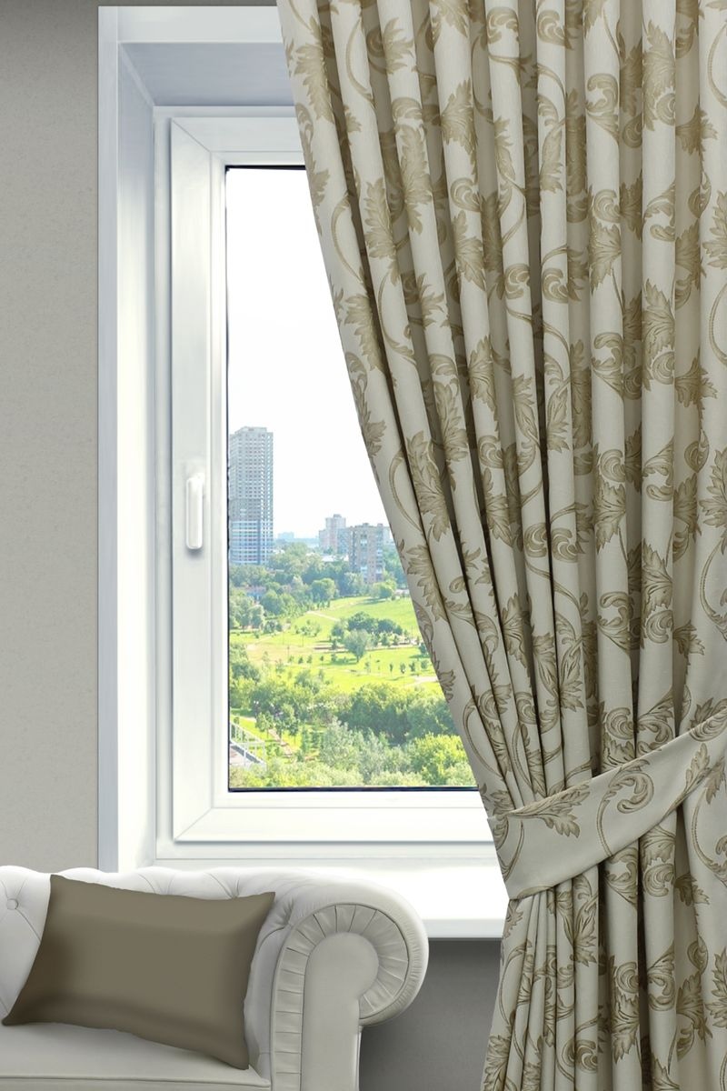 Штора Sanpa Home Collection Дебора, на ленте, цвет: бежевый, золотистый, высота 260 смSVC-300Штора Дебора с оригинальным узором изготовлена из ткани жаккард.Жаккард - одна из дорогостоящих тканей, так как её производство трудозатратно. Своеобразный рельефный рисунок, который получается в результате сложного переплетения на плотной ткани, напоминает гобелен.Крепление к карнизу осуществляется при помощи вшитой шторной ленты.