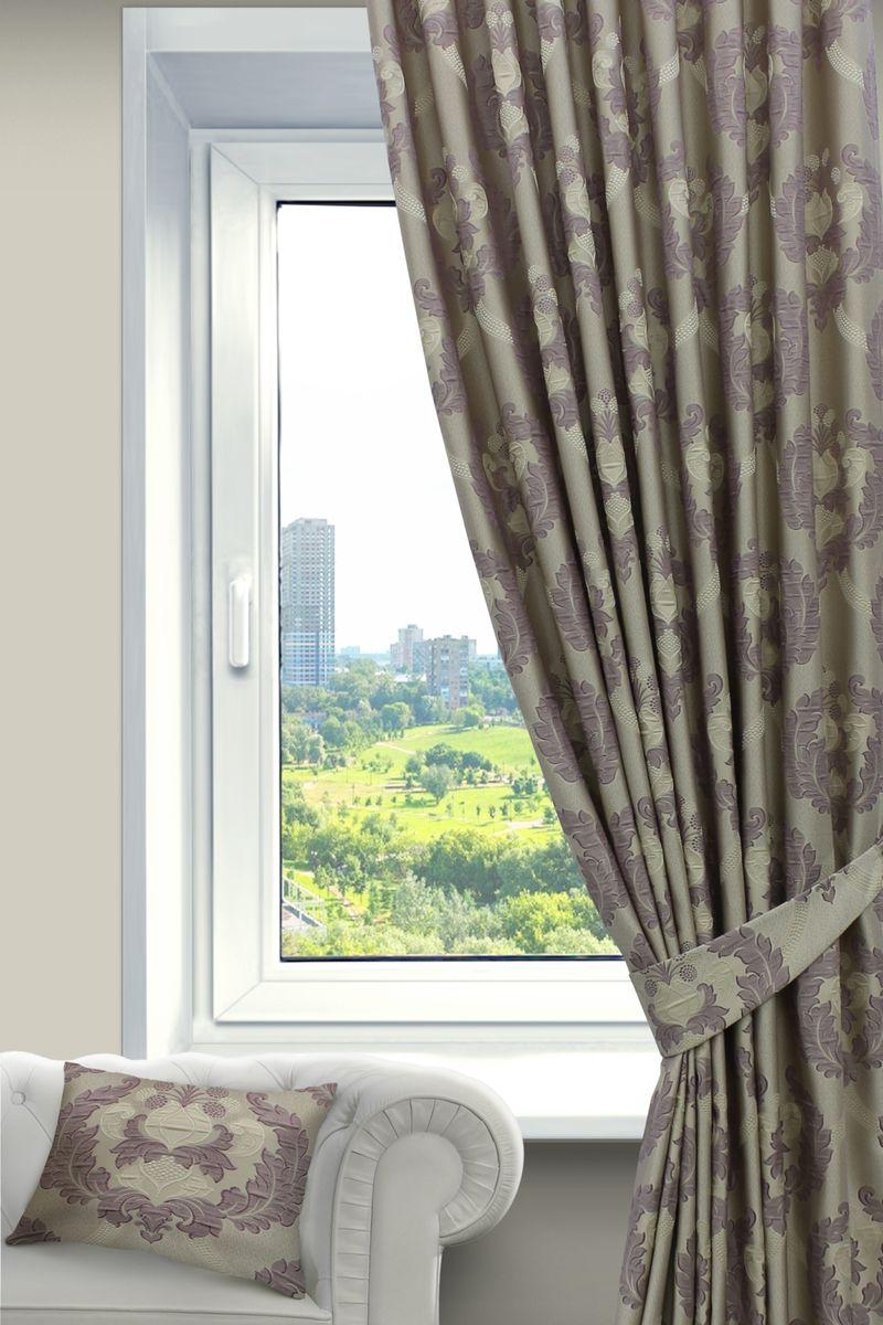 Штора Sanpa Home Collection Силвана, на ленте, цвет: сиреневый, высота 260 смHP blackout/1521/1E Твила т-беж, , 200*280 смШтора Силвана с роскошным рисунком изготовлена из ткани жаккард. Жаккард - одна из дорогостоящих тканей, так как её производство трудозатратно. Своеобразный рельефный рисунок, который получается в результате сложного переплетения на плотной ткани, напоминает гобелен.Крепление к карнизу осуществляется при помощи вшитой шторной ленты.