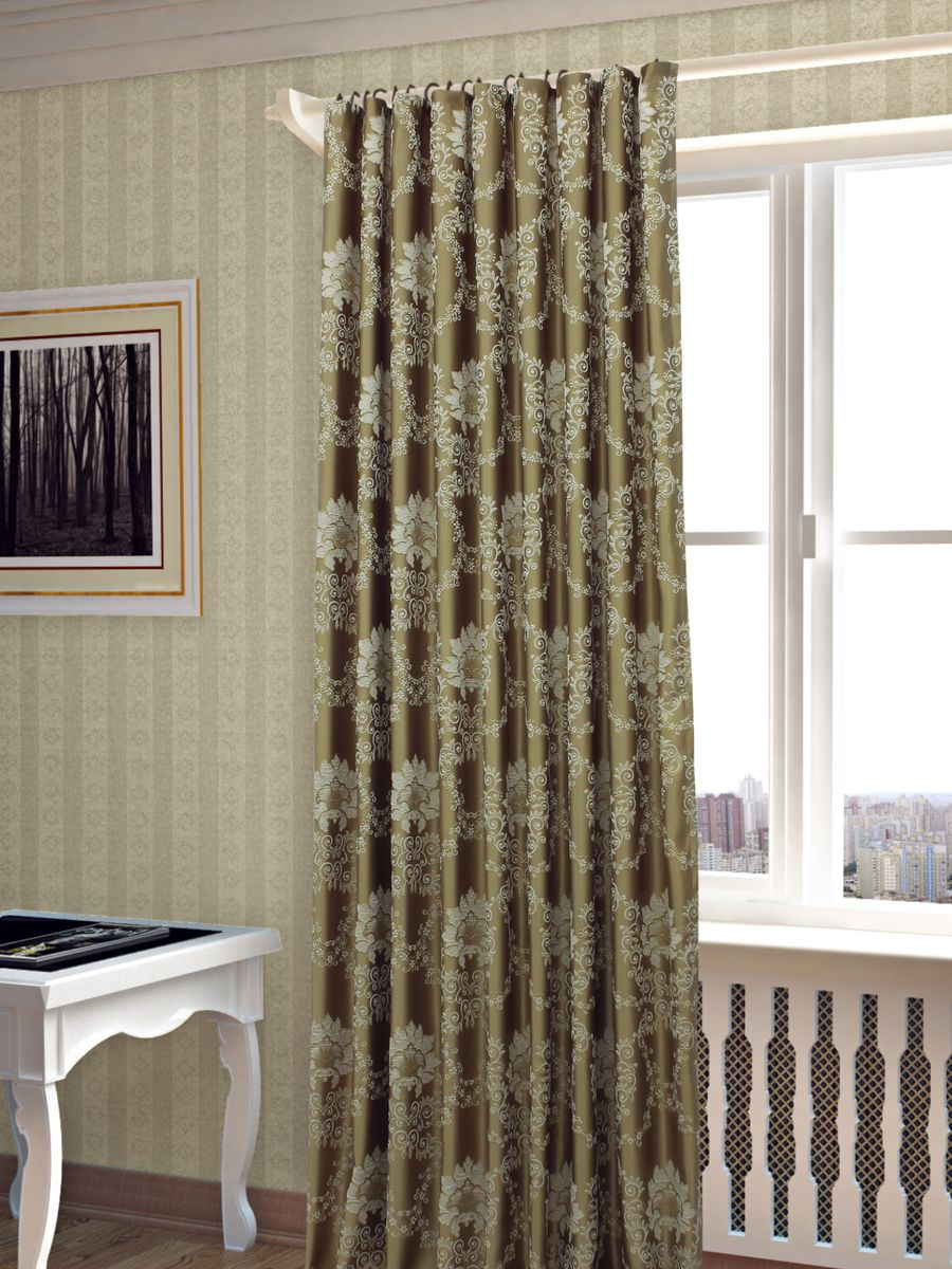 Штора Sanpa Home Collection Элина, на ленте, цвет: золотистый, высота 260 см238000Штора Элина с оригинальным узором изготовлена из ткани жаккард.Жаккард - одна из дорогостоящих тканей, так как её производство трудозатратно. Своеобразный рельефный рисунок, который получается в результате сложного переплетения на плотной ткани, напоминает гобелен.Крепление к карнизу осуществляется при помощи вшитой шторной ленты.
