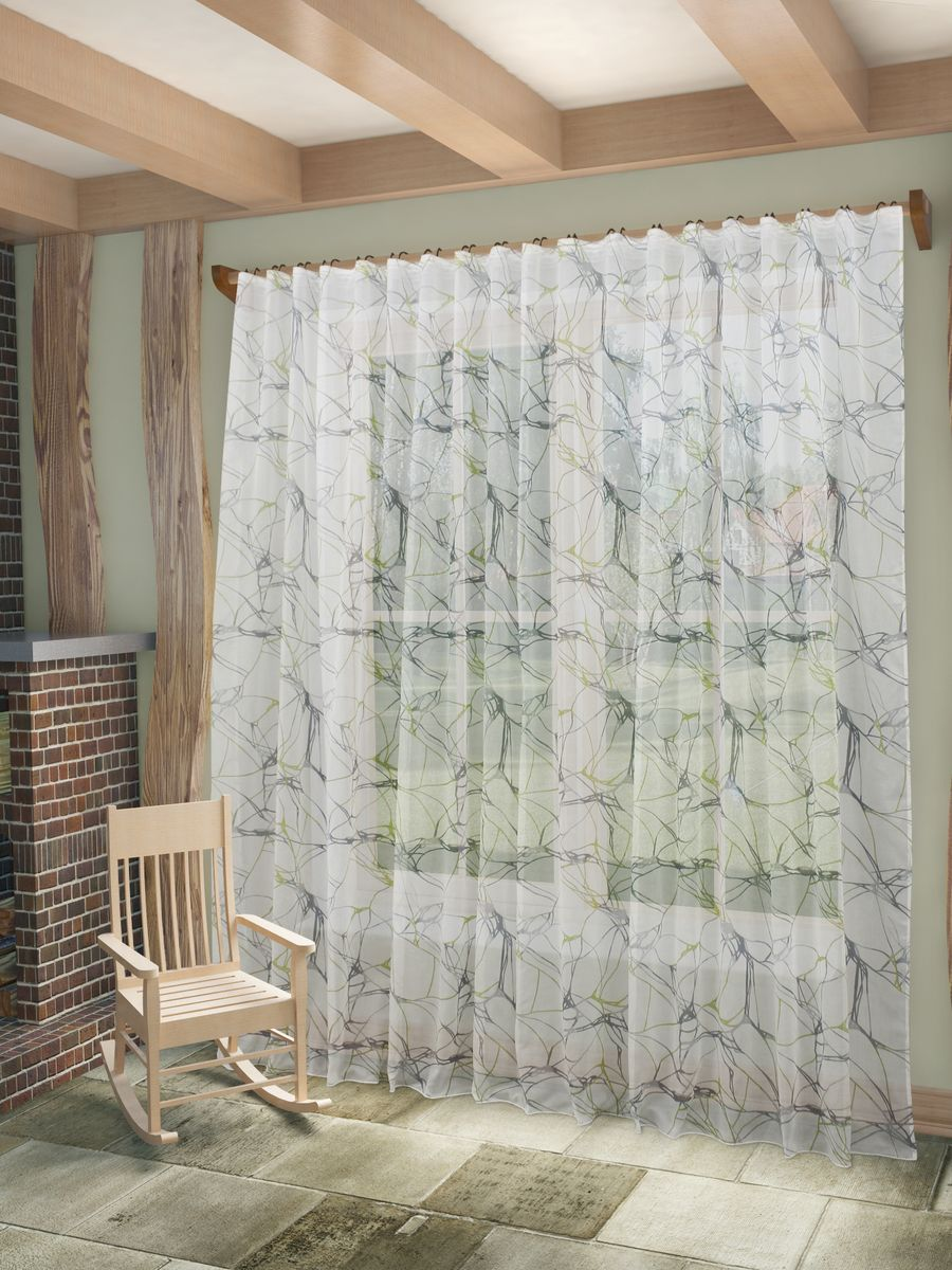 Тюль Sanpa Home Collection Вида, на ленте, цвет: серый, зеленый, высота 260 см тюль sanpa home collection алегрия на ленте цвет серый высота 260 см