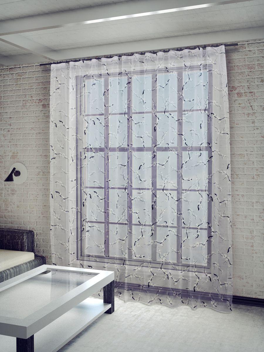 Тюль Sanpa Home Collection Сакура, на ленте, цвет: белый, высота 260 смSS 4041Тюль Сакура нежного цвета изготовлена из ткани деворе. Воздушная ткань привлечет к себе внимание и идеально оформит интерьер любого помещения. Деворе - это сложнейшая техника химического травления, при котором ткань приобретает великолепный, поистине волшебный вид. Изысканный атласный или бархатный рисунок буквально парит на матовом или прозрачном фоне, и материал становится лёгким, живым и объёмным.Крепление к карнизу осуществляется при помощи вшитой шторной ленты.