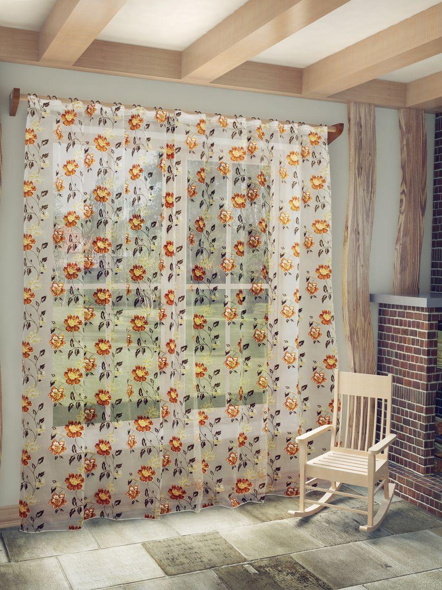 Тюль Sanpa Home Collection Амира, на ленте, цвет: терракотовый, высота 260 смС 5388 - W260 300х260 V11Тюль Амира нежного цвета изготовлена из ткани деворе. Такая ткань привлечет к себе внимание и идеально оформит интерьер любого помещения. Деворе - это сложнейшая техника химического травления, при котором ткань приобретает великолепный, поистине волшебный вид. Изысканный атласный или бархатный рисунок буквально парит на матовом или прозрачном фоне, и материал становится лёгким, живым и объёмным.Крепление к карнизу осуществляется при помощи вшитой шторной ленты.