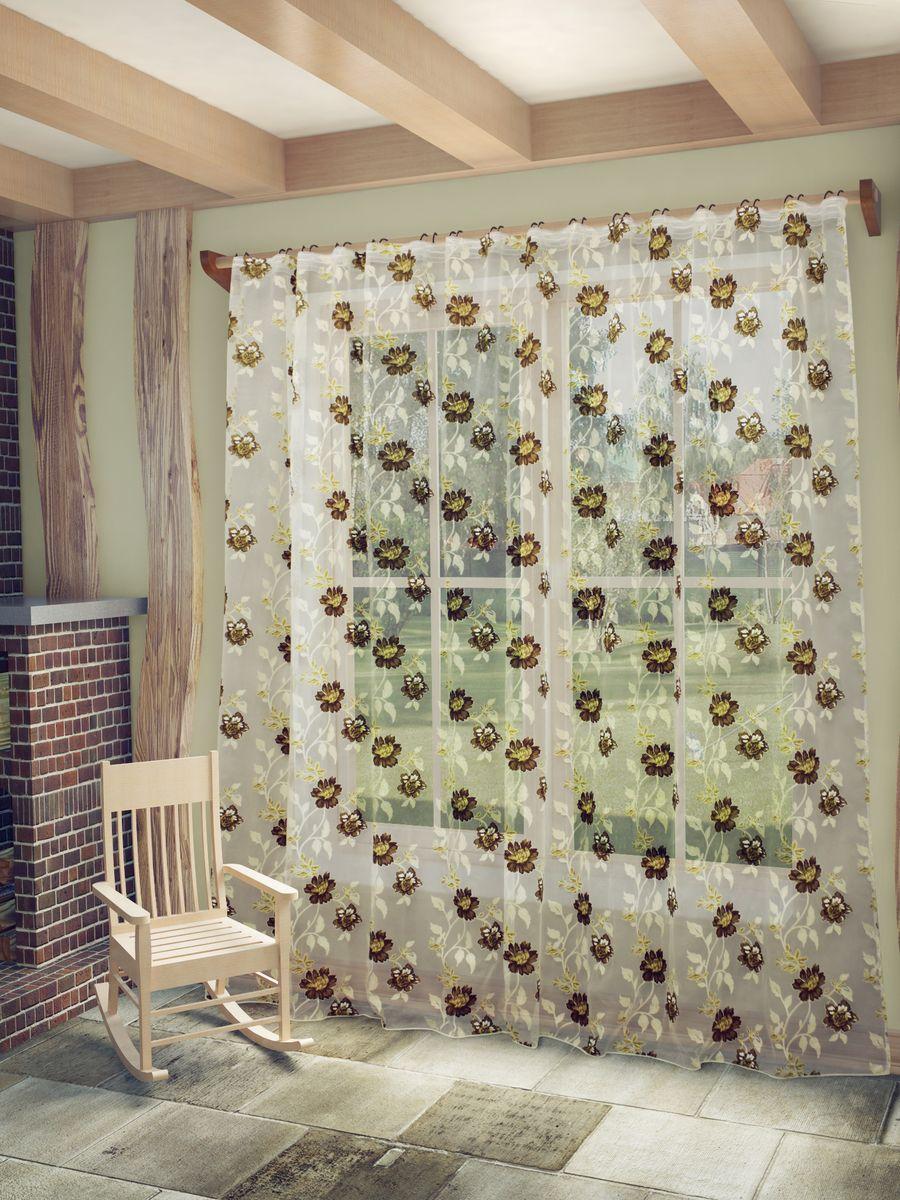 Тюль Sanpa Home Collection Амира, на ленте, цвет: бежевый, коричневый, высота 260 см1004900000360Тюль Амира нежного цвета изготовлена из ткани деворе. Такая ткань привлечет к себе внимание и идеально оформит интерьер любого помещения. Деворе - это сложнейшая техника химического травления, при котором ткань приобретает великолепный, поистине волшебный вид. Изысканный атласный или бархатный рисунок буквально парит на матовом или прозрачном фоне, и материал становится лёгким, живым и объёмным.Крепление к карнизу осуществляется при помощи вшитой шторной ленты.
