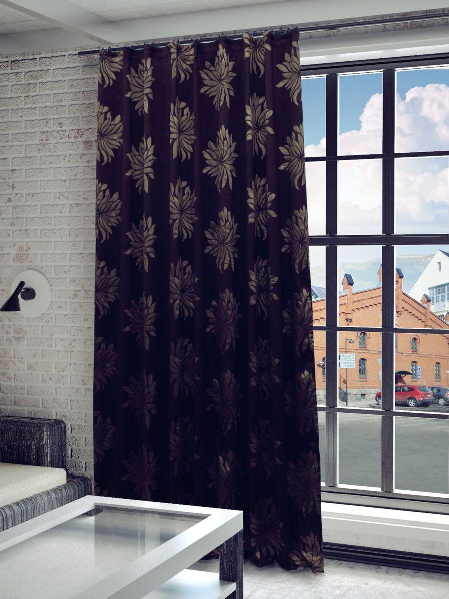 Штора Sanpa Home Collection Жаклин, на ленте, цвет: коричневый, высота 260 см1004900000360Штора Жаклин с оригинальным узором изготовлена из ткани жаккард.Жаккард - одна из дорогостоящих тканей, так как её производство трудозатратно. Своеобразный рельефный рисунок, который получается в результате сложного переплетения на плотной ткани, напоминает гобелен.Крепление к карнизу осуществляется при помощи вшитой шторной ленты.