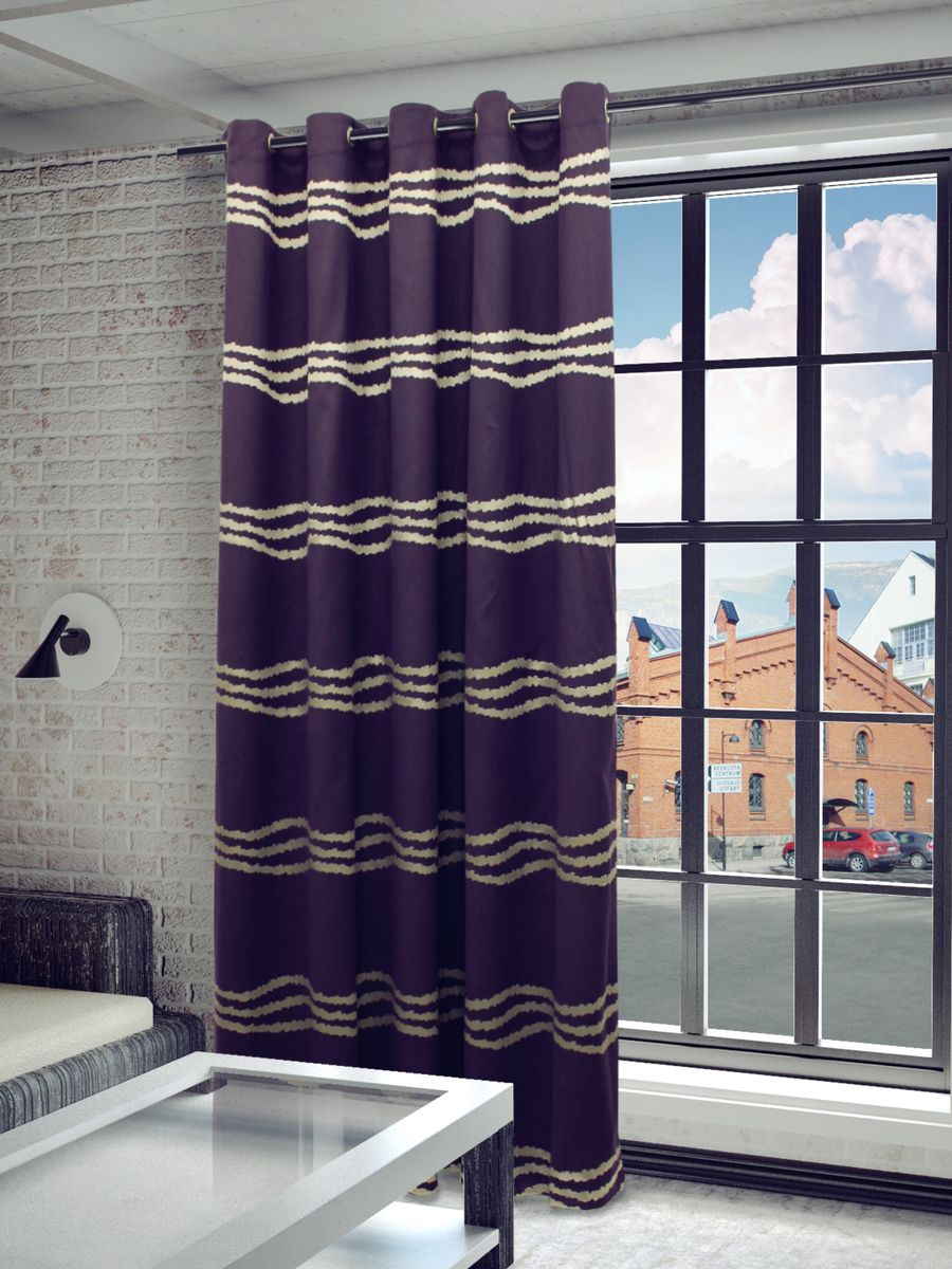 Штора Sanpa Home Collection Кимберли, на люверсах, цвет: фиолетовый, высота 260 смDW90Штора Кимберли с оригинальным узором изготовлена из ткани жаккард.Жаккард - одна из дорогостоящих тканей, так как её производство трудозатратно. Своеобразный рельефный рисунок, который получается в результате сложного переплетения на плотной ткани, напоминает гобелен.Изделие оснащено металлическими люверсами для подвешивания на карниз-трубу, которые гармонично смотрятся и легко скользят по карнизу. Штора на люверсах идеально подойдет для гостиной или спальни и великолепно украсит любое окно.