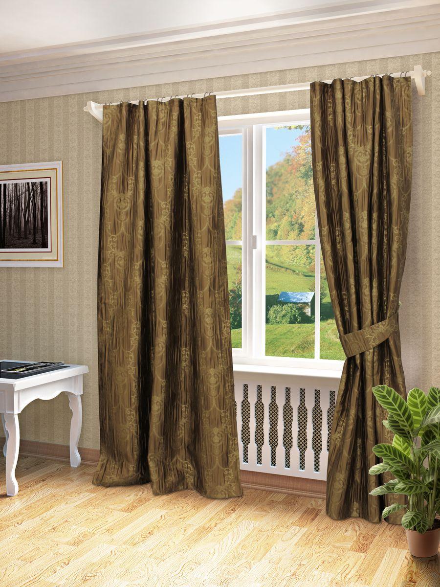 Комплект штор Sanpa Home Collection Эви, на ленте, цвет: коричневый, высота 260 смCLP446Комплект штор Эви, выполненный из жаккарда, великолепно украсит любое окно. Комплект состоит из двух штор и двух подхватов. Оригинальный рисунок и приятная цветовая гамма привлекут к себе внимание и органично впишутся в интерьер помещения. Этот комплект будет долгое время радовать вас и вашу семью!В комплект входит: Штора: 2 шт. Размер (Ш х В): 145 см х 260 см.Подхват: 2 шт.