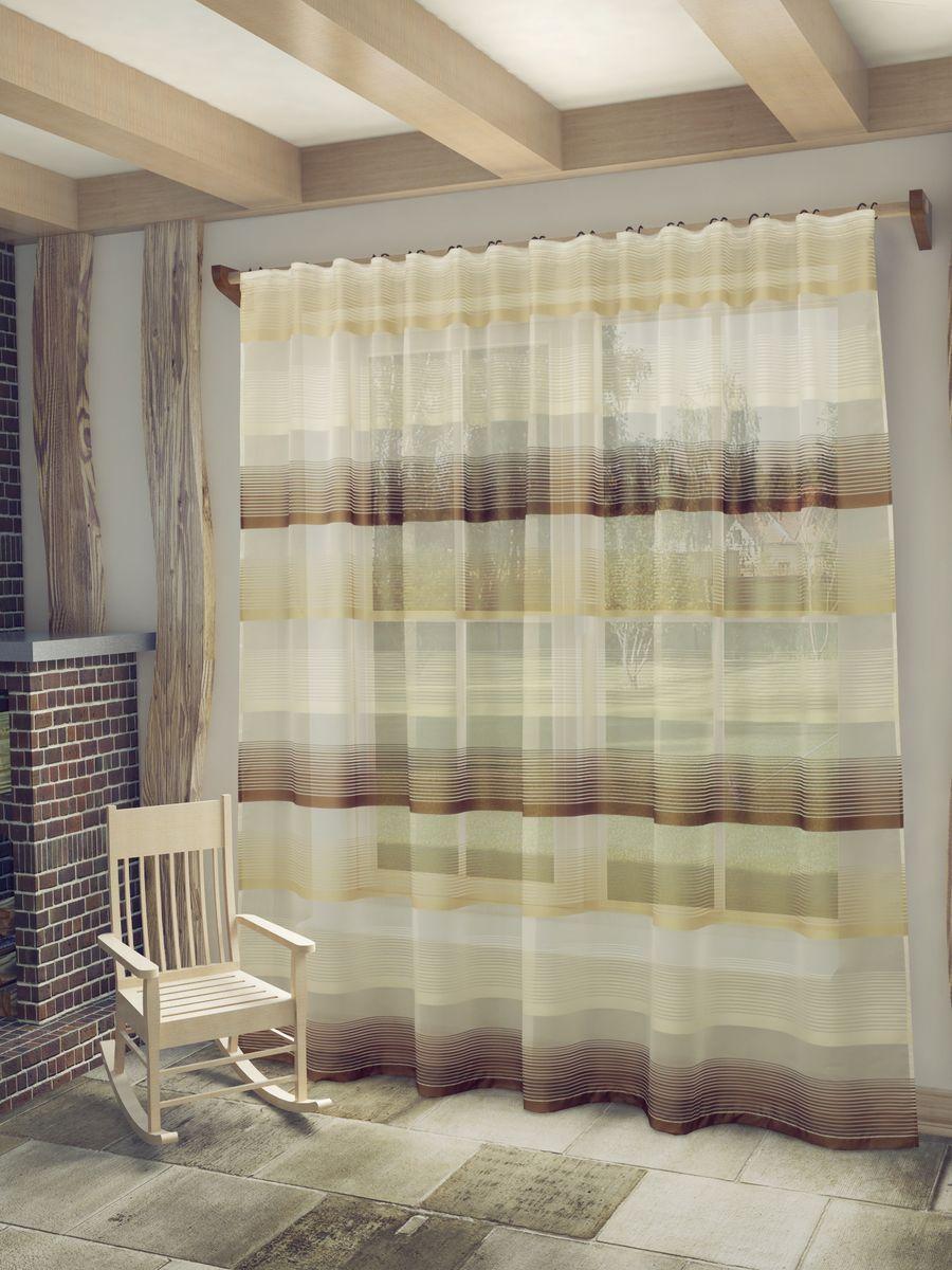 Тюль Sanpa Home Collection Лучиана, на ленте, цвет: белый, коричневый, высота 255 см956251325Тюль Лучиана нежного цвета изготовлена из высококачественных материалов. Воздушная ткань привлечет к себе внимание и идеально оформит интерьер любого помещения. Тюль сделает ваш интерьер более нежным, воздушным и невесомым. Можно драпировать окно только тюлью или только портьерами, но вместе они создают идеальную композицию. Мы рекомендуем под однотонные портьеры нейтральных тонов подбирать сложносочиненную тюль, с изысканной вышивкой и орнаментом, а под портьеры с рисунком или ярких тонов - выбирать тюль с минималистичным рисунком или вообще без него.Крепление к карнизу осуществляется при помощи вшитой шторной ленты.