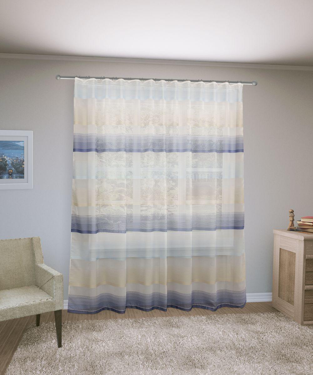 Тюль Sanpa Home Collection Лучиана, на ленте, цвет: синий, высота 255 смVCA-00Тюль Лучиана нежного цвета изготовлена из высококачественных материалов. Воздушная ткань привлечет к себе внимание и идеально оформит интерьер любого помещения. Тюль сделает ваш интерьер более нежным, воздушным и невесомым. Можно драпировать окно только тюлью или только портьерами, но вместе они создают идеальную композицию. Мы рекомендуем под однотонные портьеры нейтральных тонов подбирать сложносочиненную тюль, с изысканной вышивкой и орнаментом, а под портьеры с рисунком или ярких тонов - выбирать тюль с минималистичным рисунком или вообще без него.Крепление к карнизу осуществляется при помощи вшитой шторной ленты.