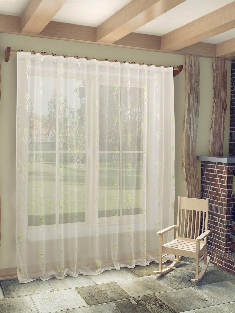 Тюль Sanpa Home Collection Антея, на ленте, цвет: белый, салатовый, высота 260 смIRK-503Тюль Антея нежного цвета с оригинальным рисунком. Воздушная ткань привлечет к себе внимание и идеально оформит интерьер любого помещения. Ткань вуаль - это гладкая, тонкая, полупрозрачная ткань, изготавливаемая из хлопка, шерсти, шёлка или полиэстера путём полотняного переплетения нитей. Крепление к карнизу осуществляется при помощи вшитой шторной ленты.