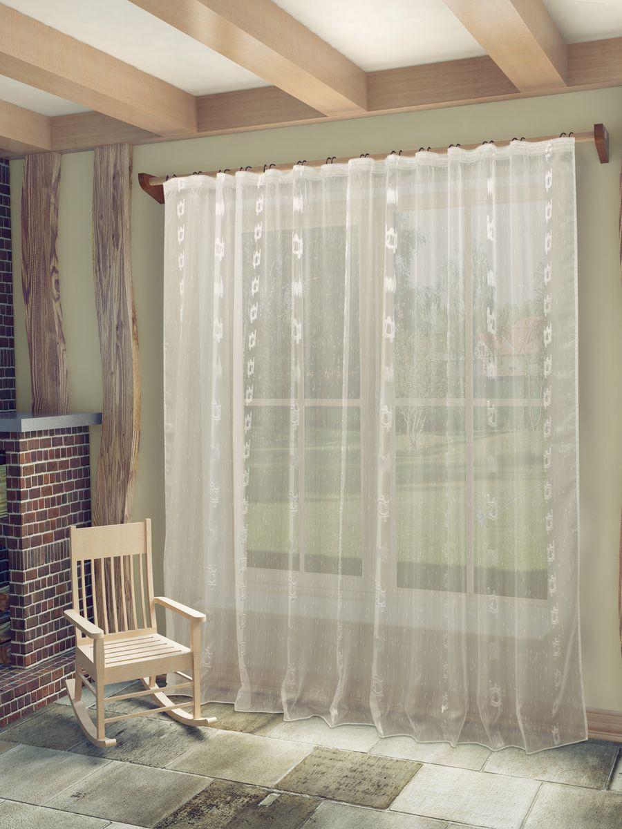 Тюль Sanpa Home Collection Женевра, на ленте, цвет: белый, высота 260 см77648Тюль Женевра нежного цвета в классическом исполнении изготовлена из ткани вуаль и жаккард. Воздушная ткань привлечет к себе внимание и идеально оформит интерьер любого помещения. Ткань вуаль - это гладкая, тонкая, полупрозрачная ткань, изготавливаемая из хлопка, шерсти, шёлка или полиэстера путём полотняного переплетения нитей. Крепление к карнизу осуществляется при помощи вшитой шторной ленты.