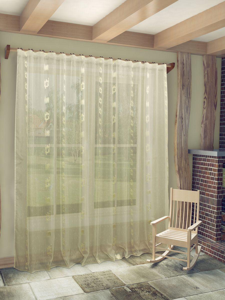 Тюль Sanpa Home Collection Женевра, на ленте, цвет: бежевый, высота 260 смVCA-00Тюль Женевра нежного цвета в классическом исполнении изготовлена из ткани вуаль и жаккард. Воздушная ткань привлечет к себе внимание и идеально оформит интерьер любого помещения. Ткань вуаль - это гладкая, тонкая, полупрозрачная ткань, изготавливаемая из хлопка, шерсти, шёлка или полиэстера путём полотняного переплетения нитей. Крепление к карнизу осуществляется при помощи вшитой шторной ленты.
